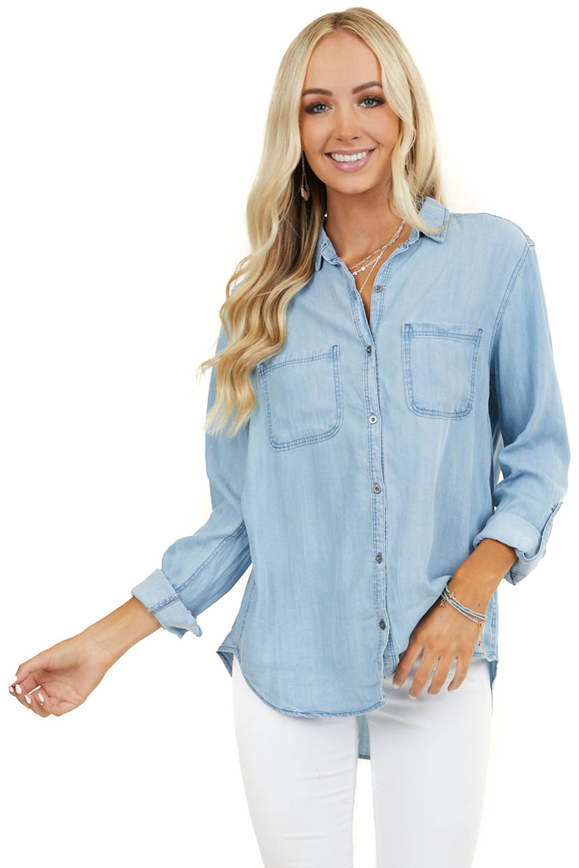 Light Denim Button Up Shirt with Rolled Sleeves and Pockets