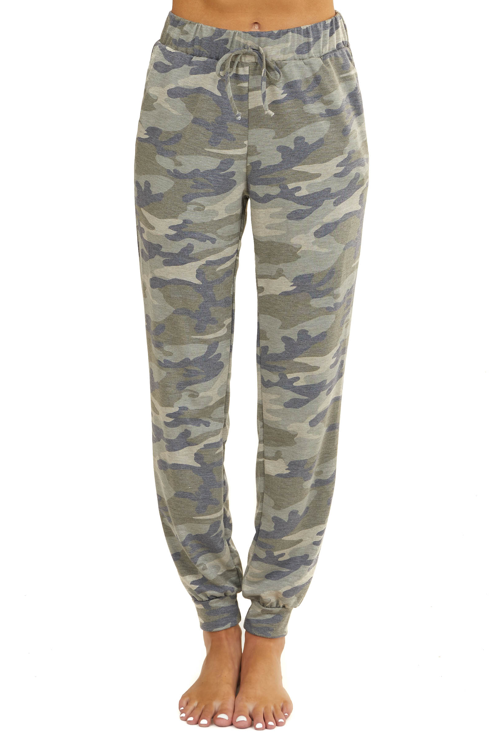 Olive Green Camo Print Jogger Sweatpants with Pockets