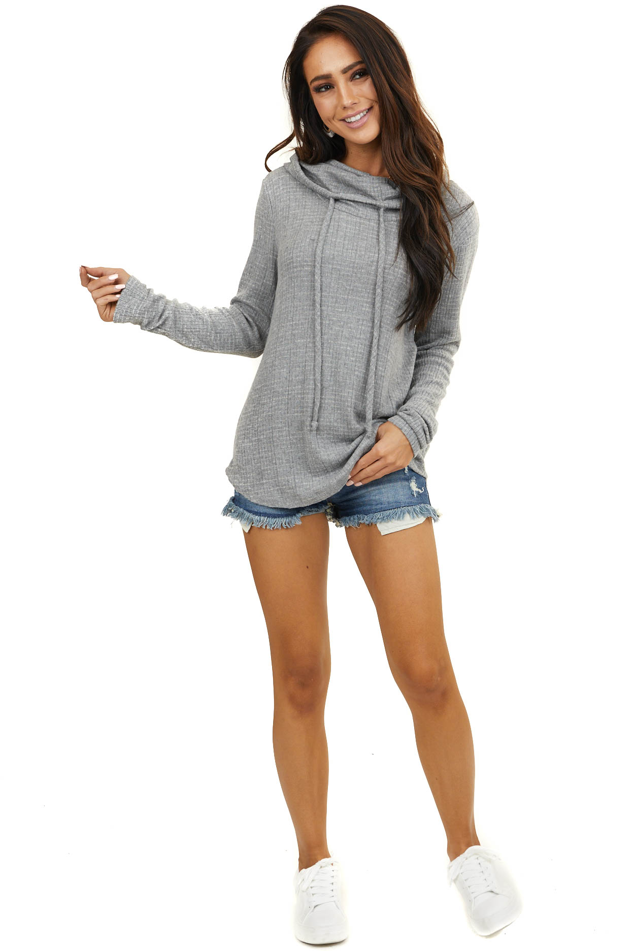 Heather Grey Ribbed Cowl Neck Long Sleeve Top