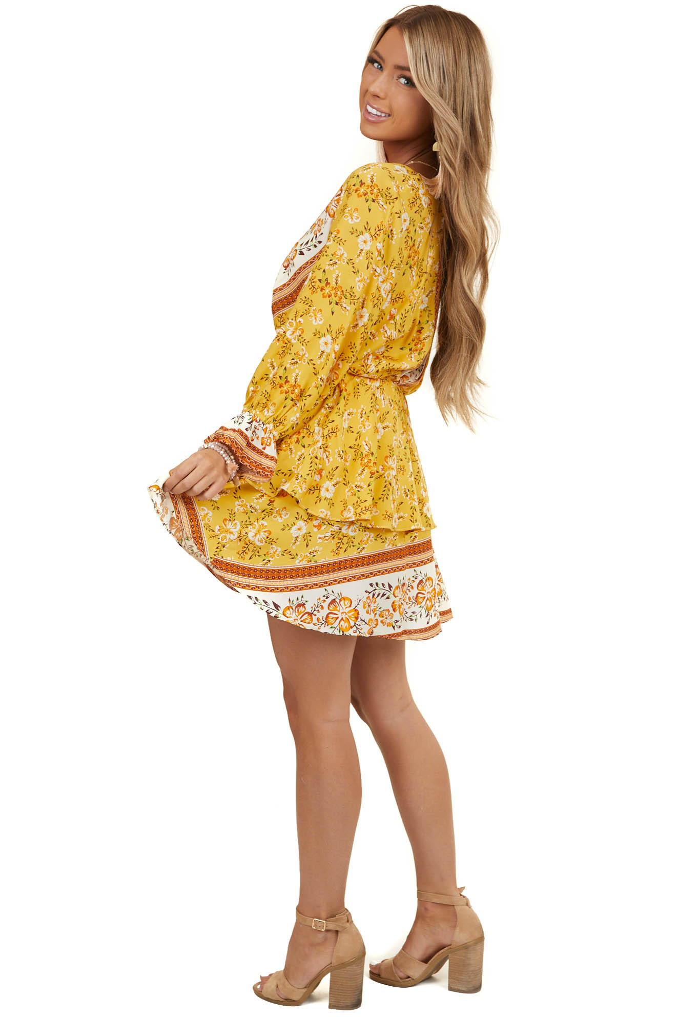 Mustard Yellow Floral Print Mini Dress with Overlay Detail