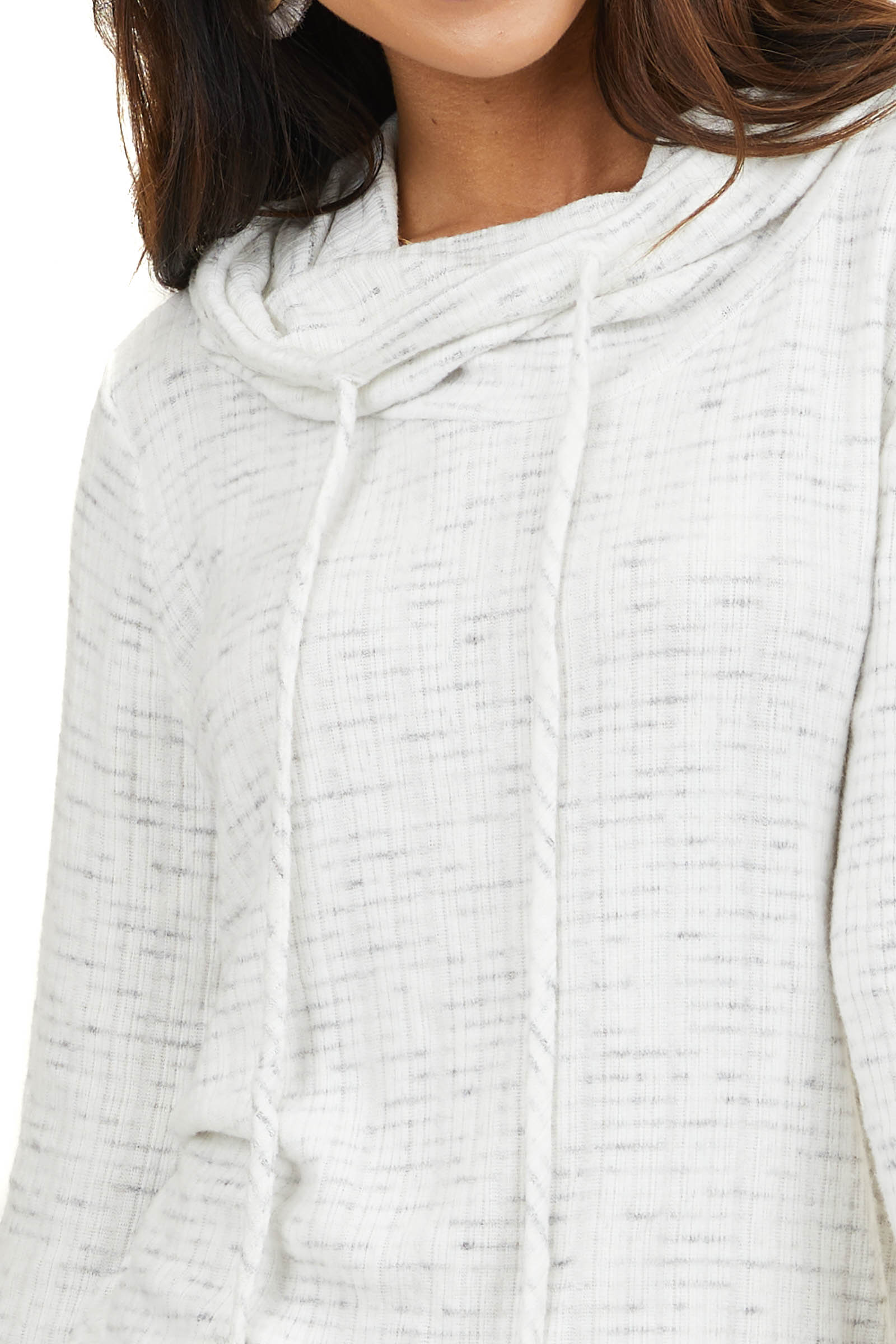 Ivory and Grey Ribbed Cowl Neck Long Sleeve Top
