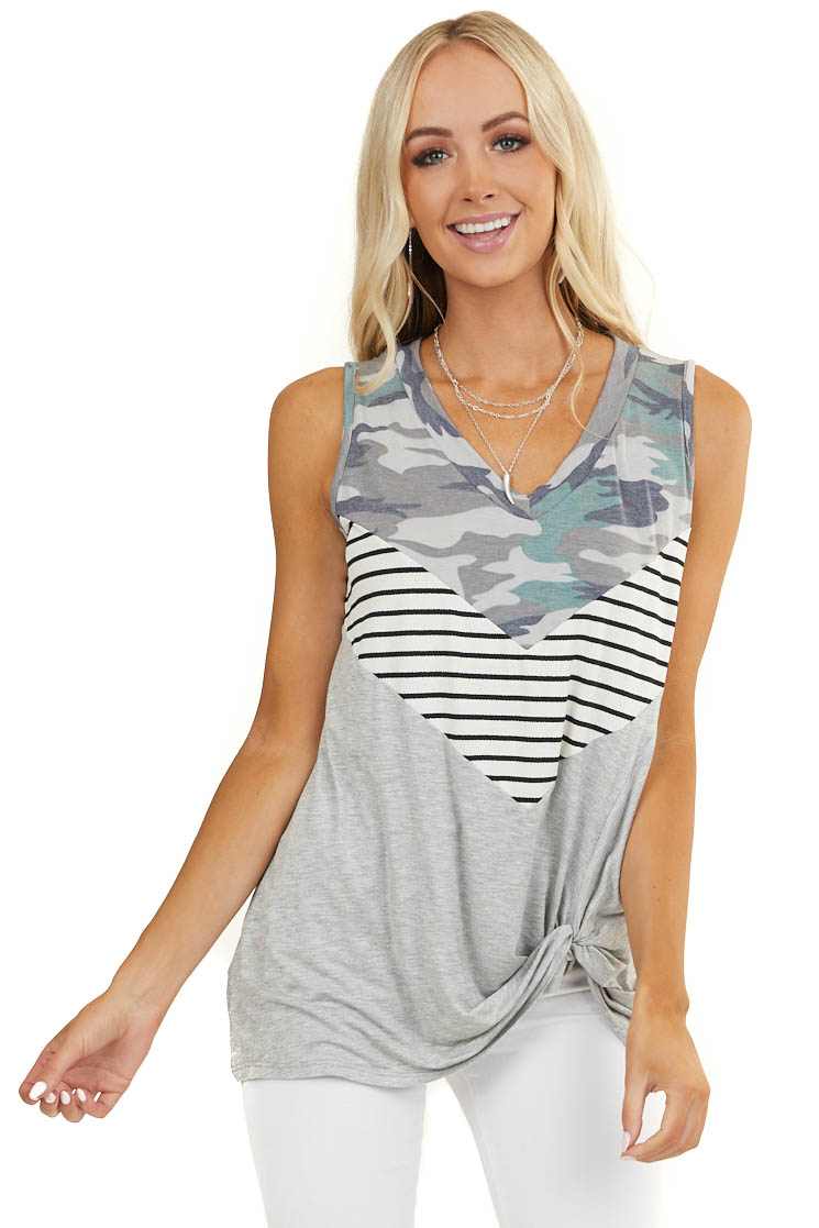 Heather Grey Colorblock Tank Top with Front Knot Detail