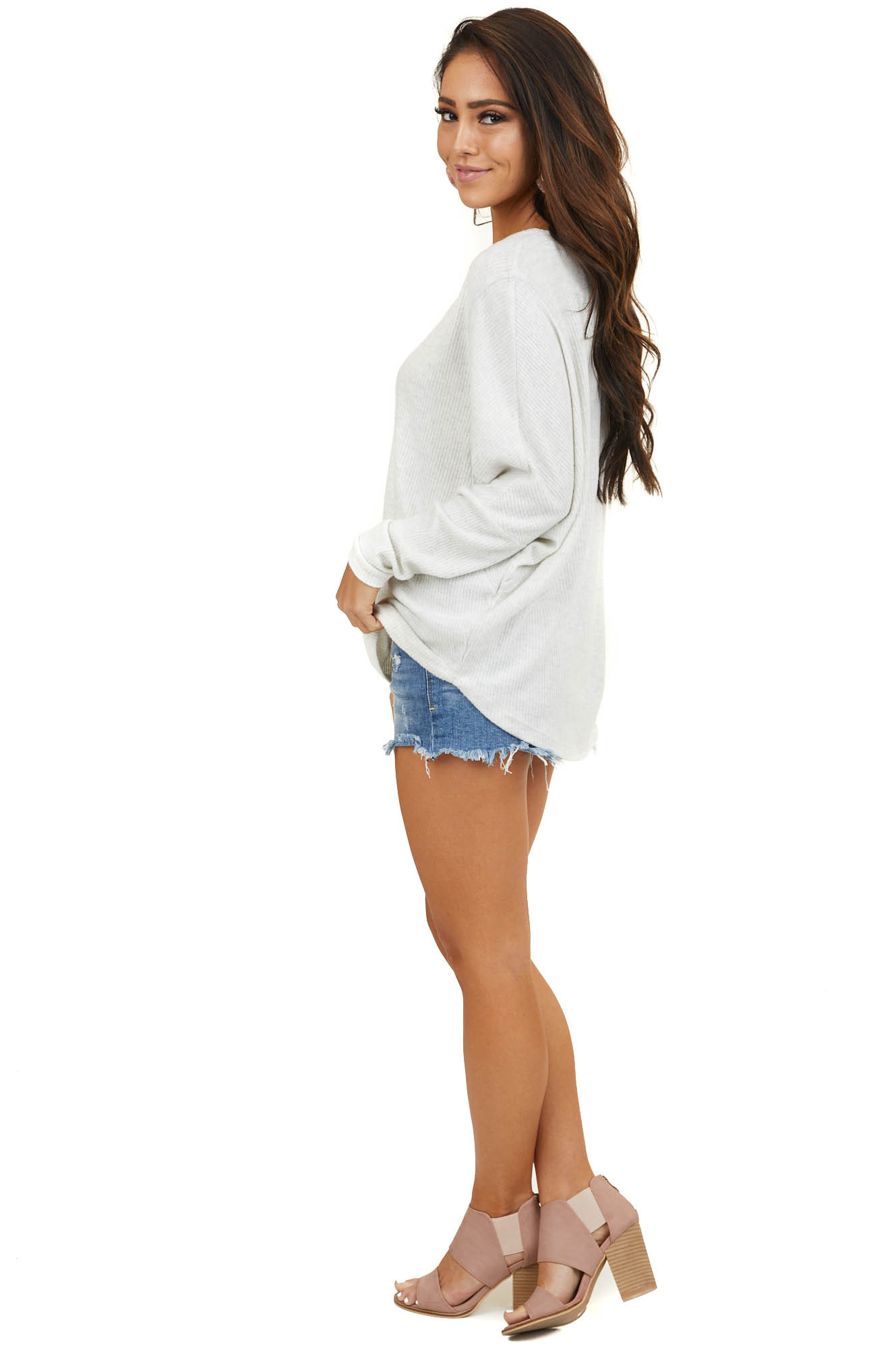 Ivory Long Sleeve Ribbed Top with Exposed Stitching Detail