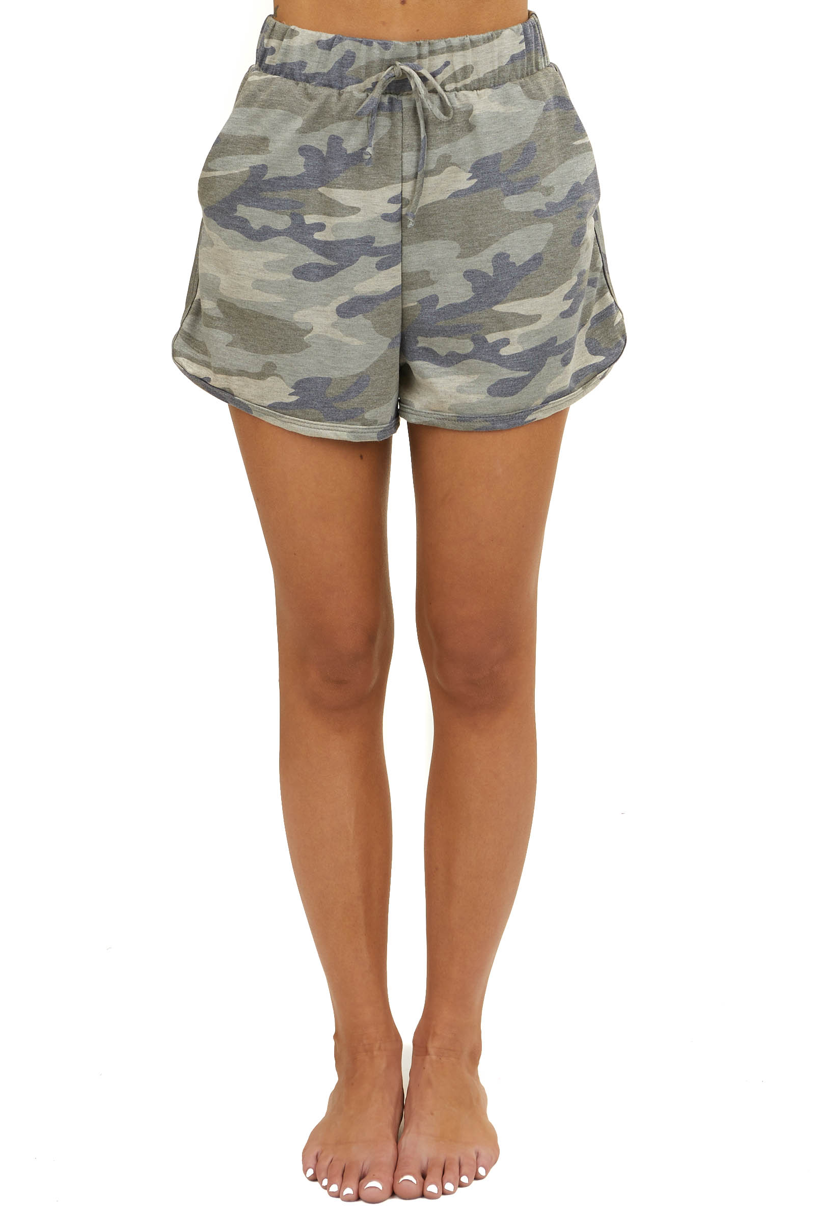 Olive Green Camo Loungewear Drawstring Shorts with Pockets