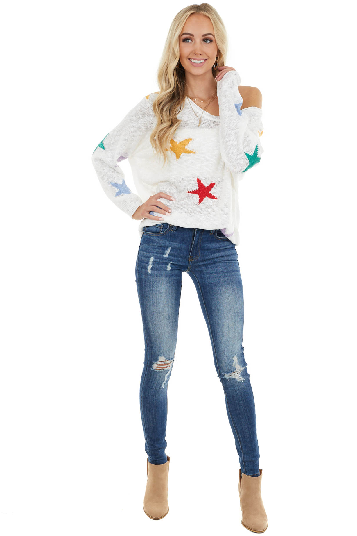 Ivory Long Sleeve Lightweight Top with Multicolor Star Print
