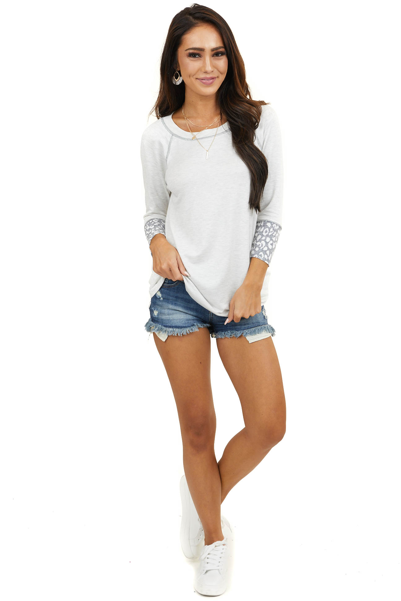 Ivory Long Sleeve Knit Top with Grey Leopard Print Contrast