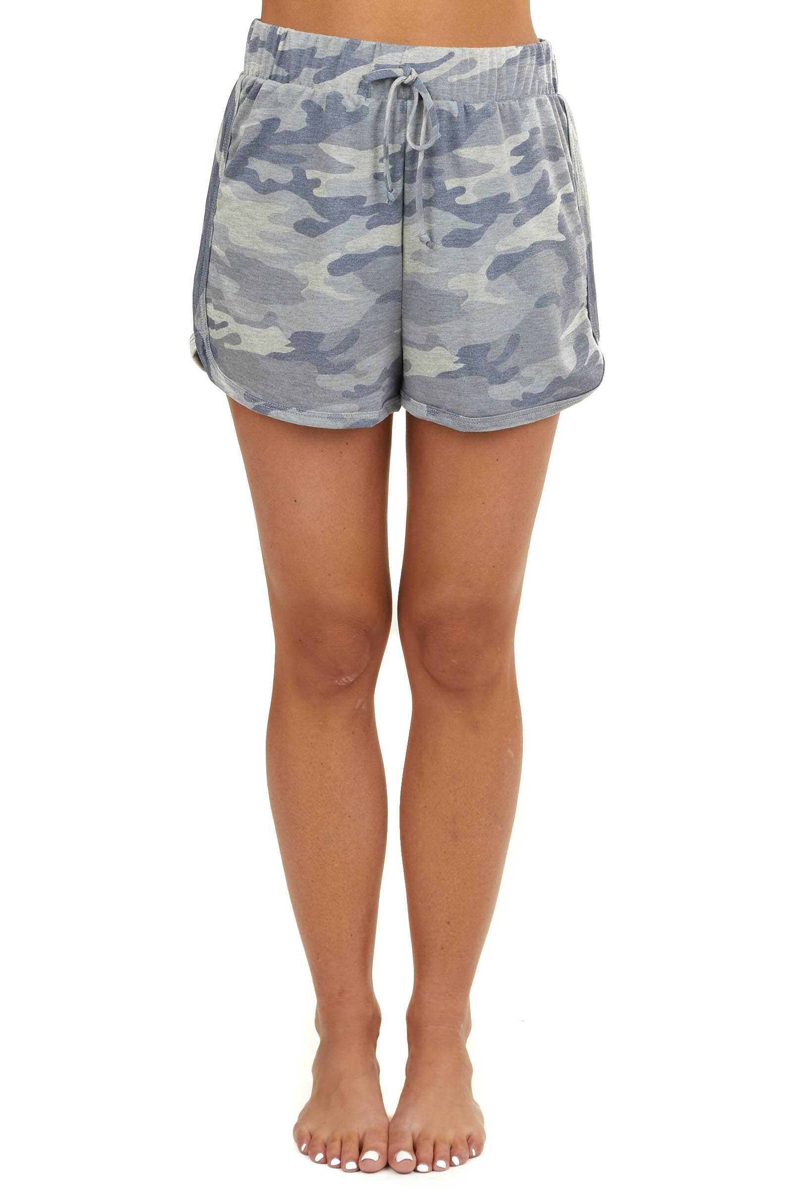 Grey Camo Loungewear Drawstring Shorts with Pockets