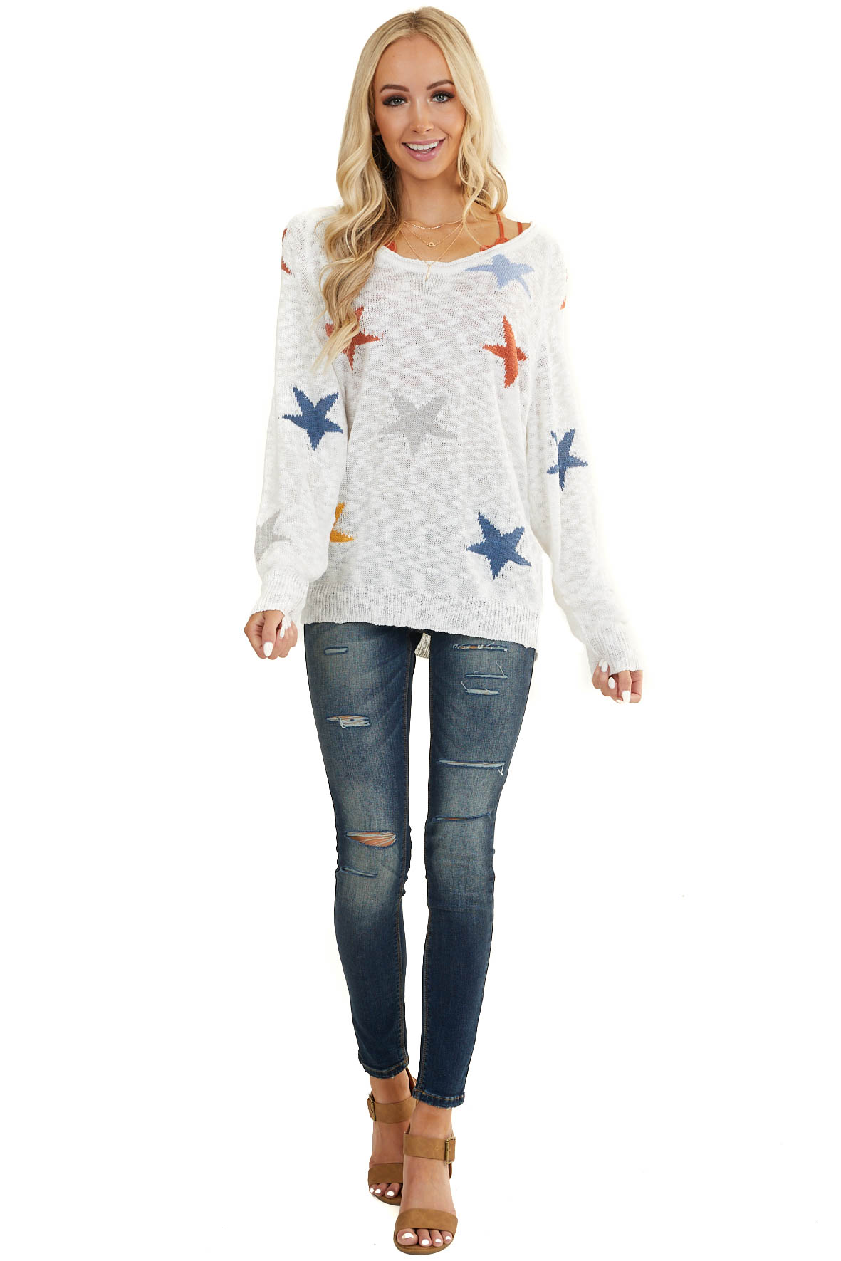 Ivory Multicolor Star Print Long Sleeve Lightweight Knit Top