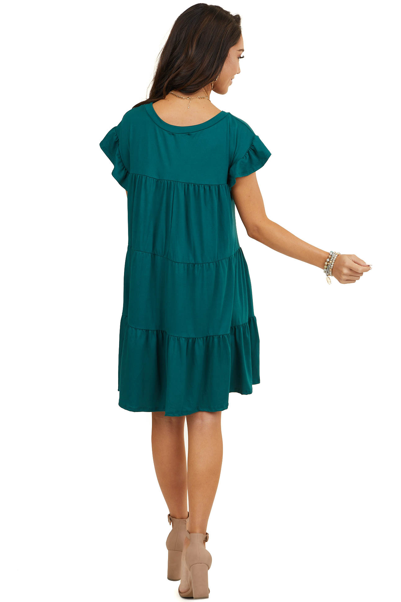 Pine Green Soft Knit Tiered Mini Dress with Ruffle Sleeves