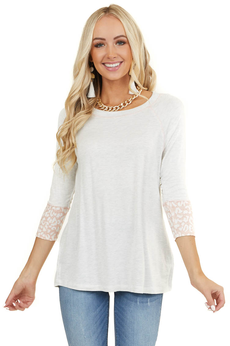 Ivory Long Sleeve Knit Top with Blush Leopard Print Contrast