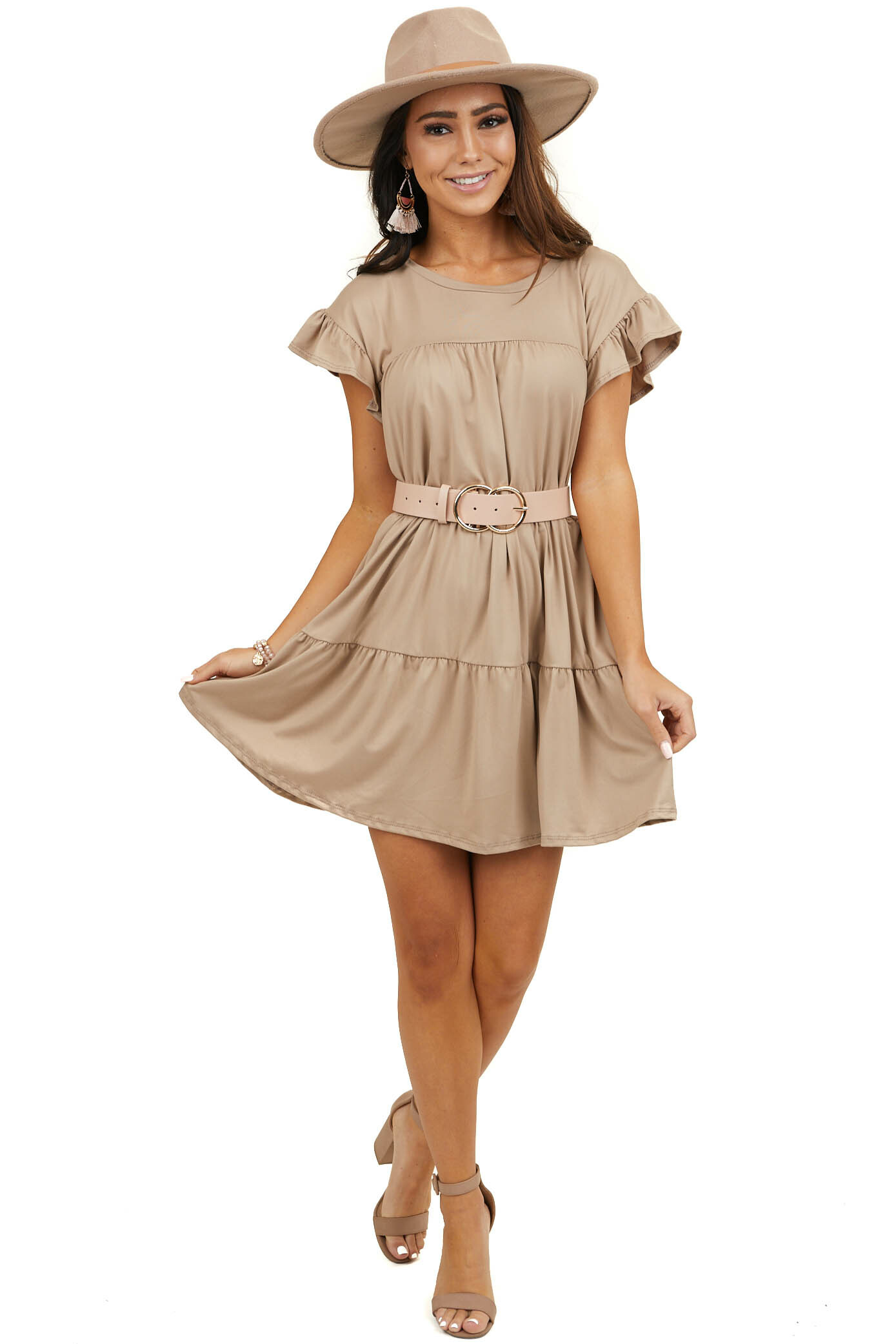 Taupe Soft Knit Tiered Mini Dress with Ruffle Sleeves