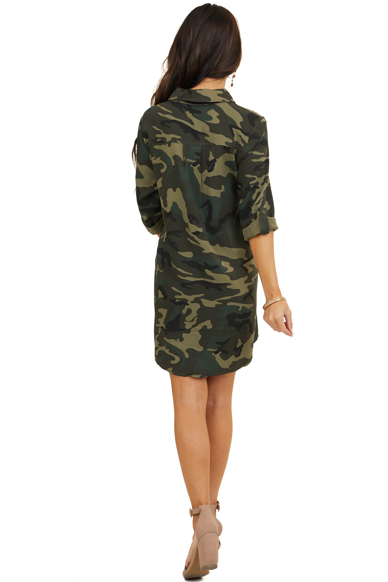 Forest Green Camo Short Woven Dress with Front Buttons