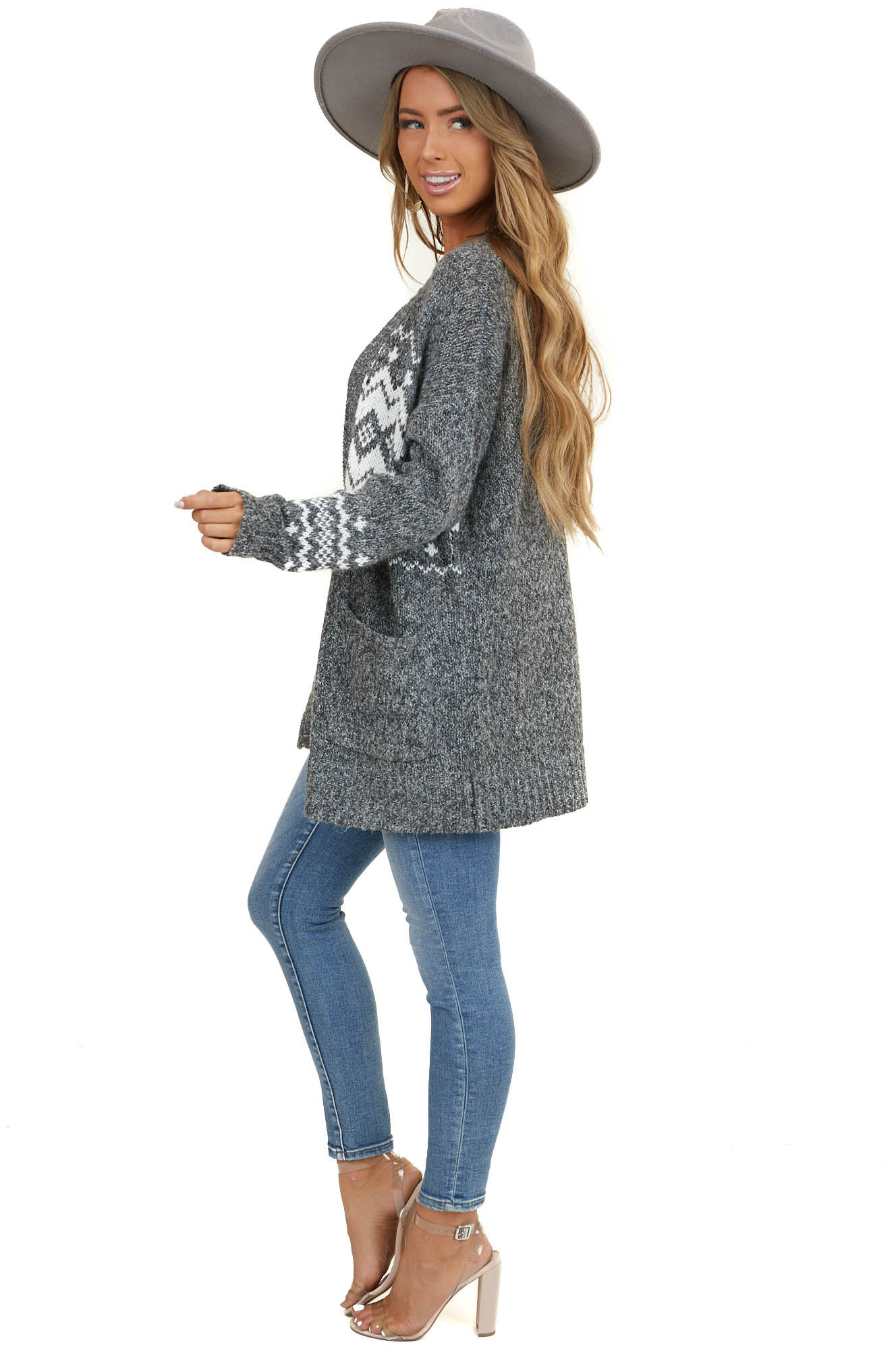 Charcoal and Ivory Printed Long Sleeve Open Cardigan