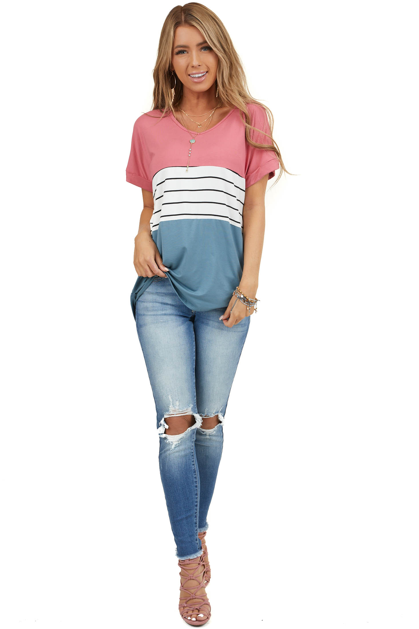 Deep Rose Colorblock Striped Top with Short Cuffed Sleeves