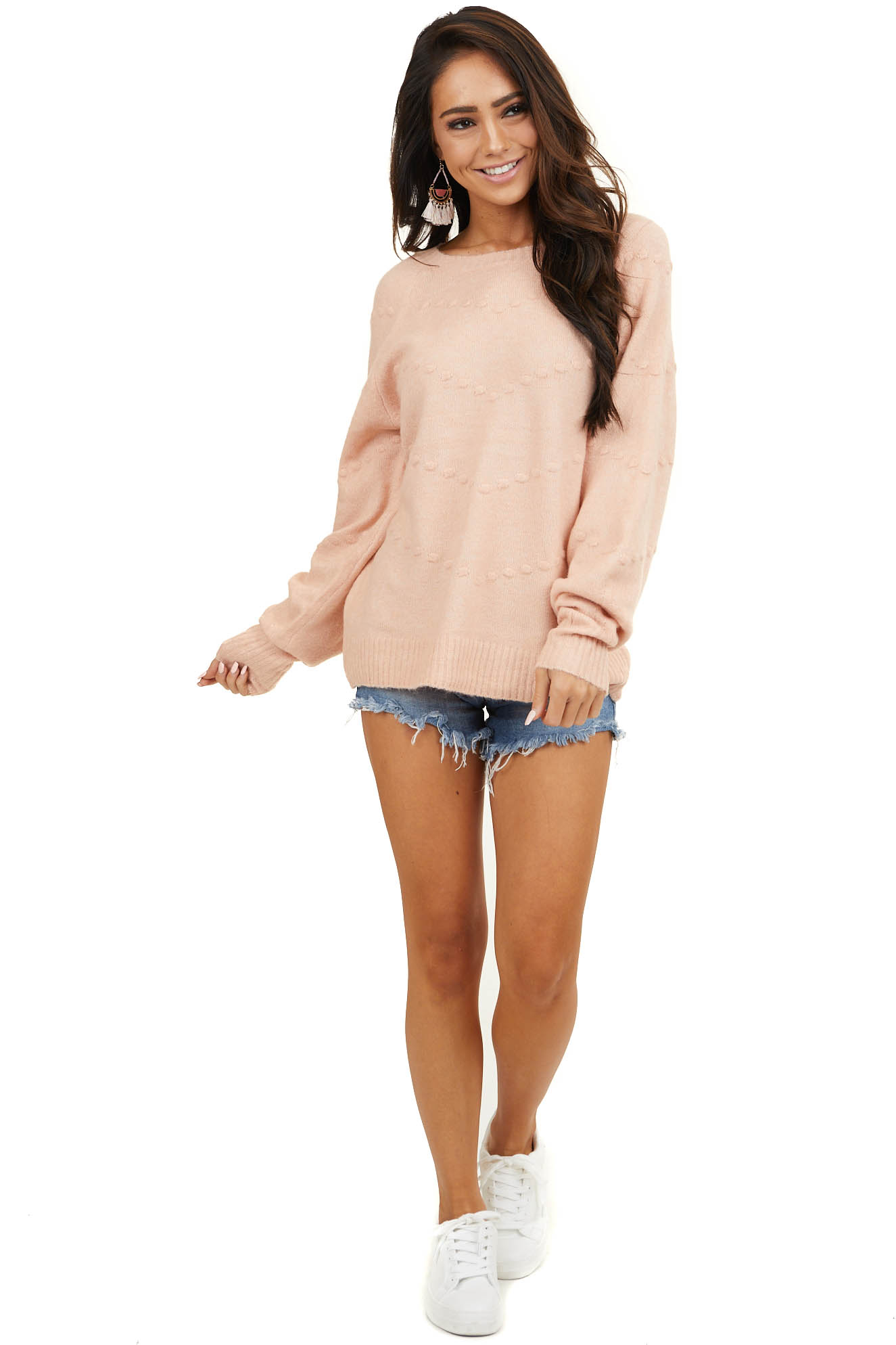 Peach Long Sleeve Rounded Neck Sweater with Textured Dots