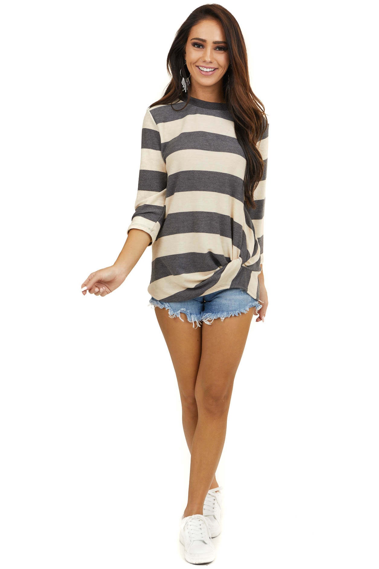 Beige and Charcoal Striped 3/4 Sleeves Sweater with Twist