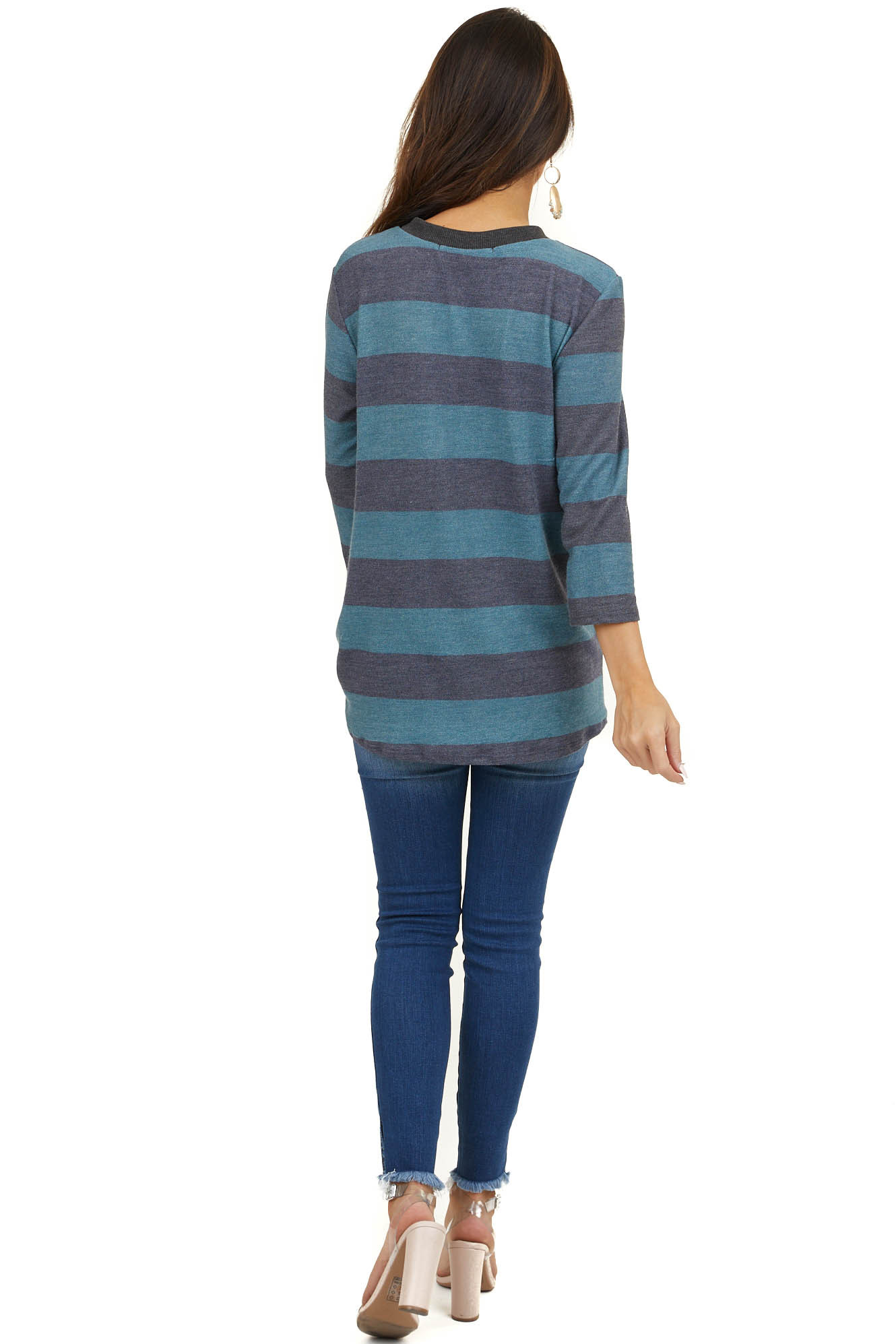 Dark Teal and Charcoal Striped 3/4 Sleeve Sweater with Twist