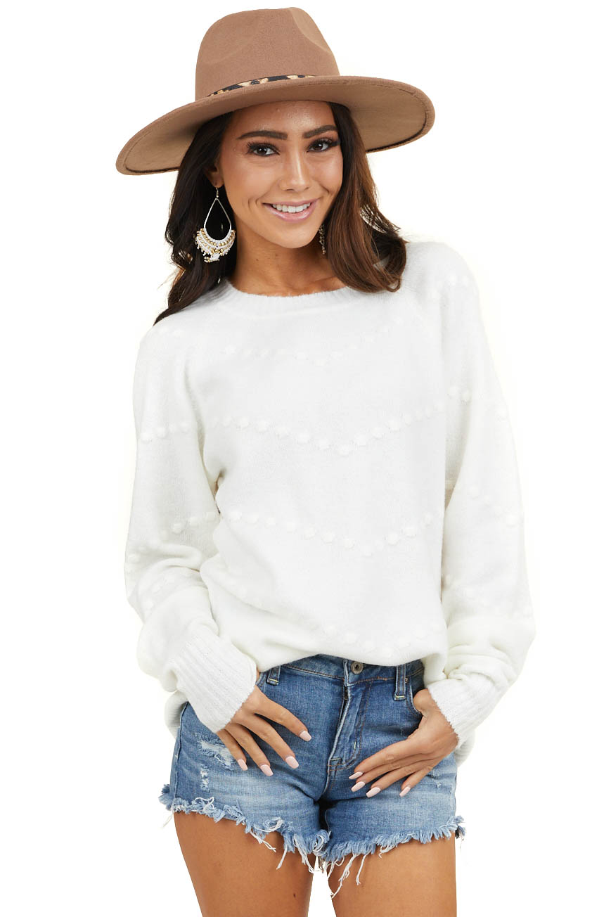 Ivory Long Sleeve Rounded Neck Sweater with Textured Dots
