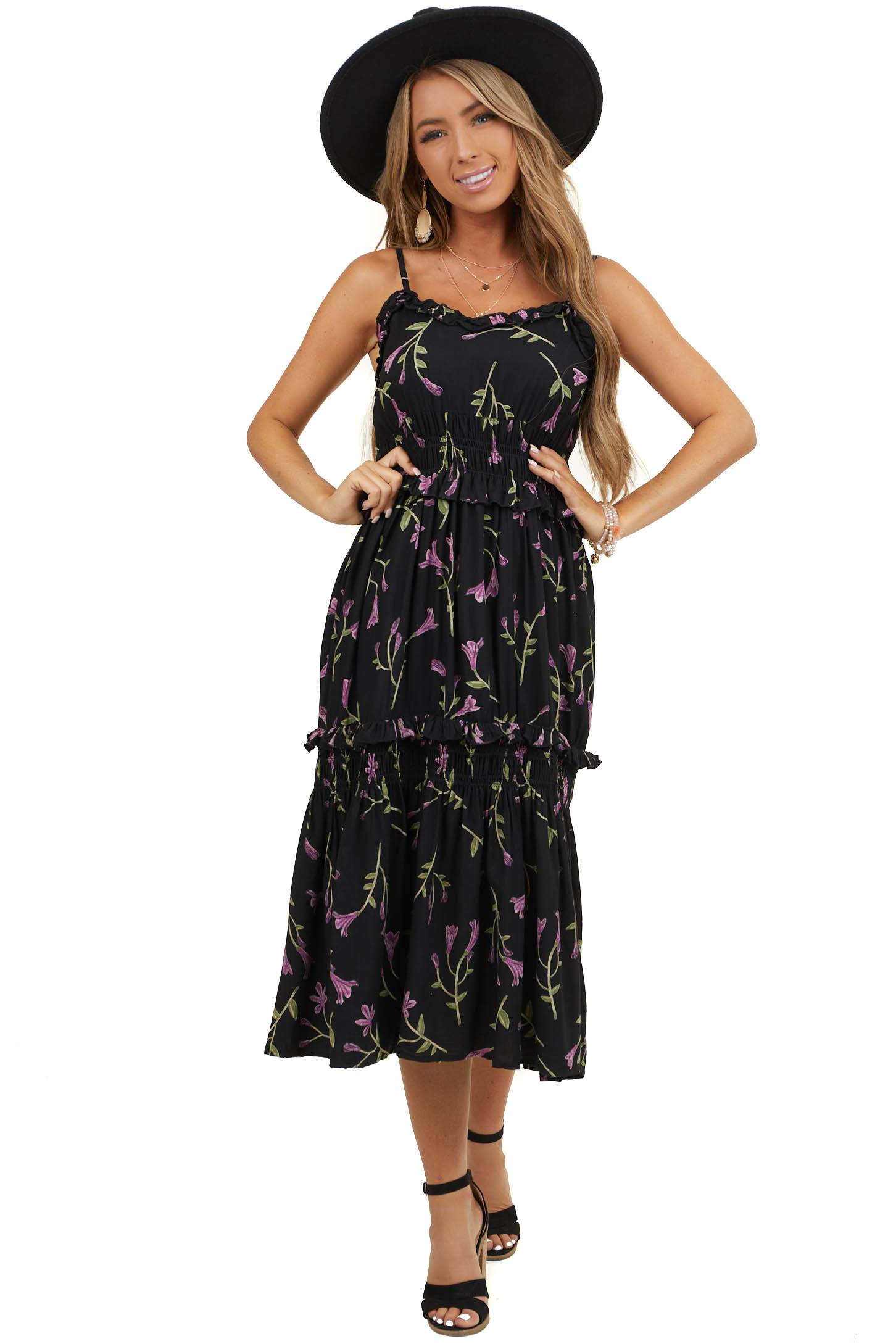 Black Floral Print Sleeveless Midi Dress with Smocked Detail