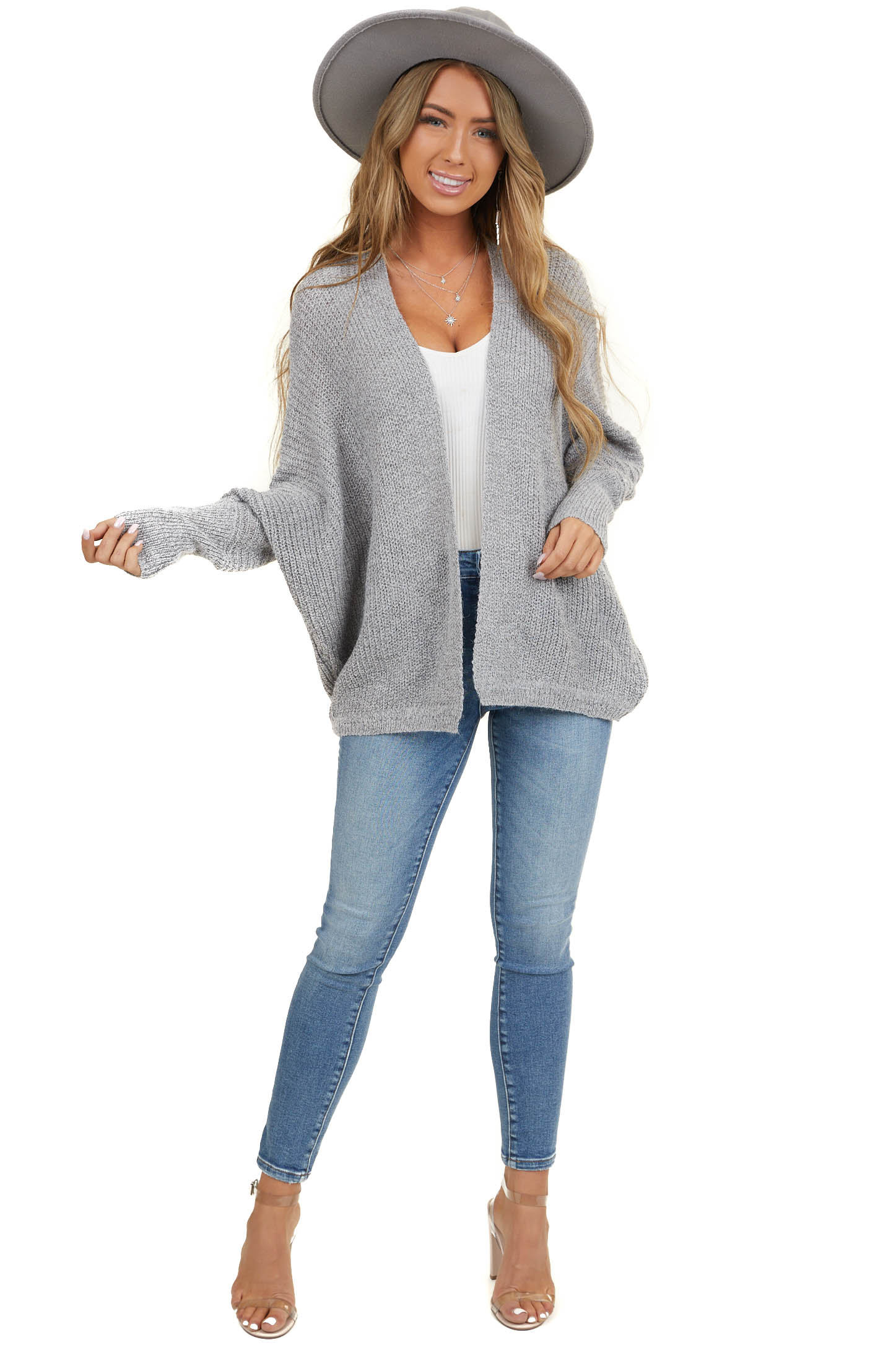 Heather Grey Open Front Cardigan with 3/4 Dolman Sleeves