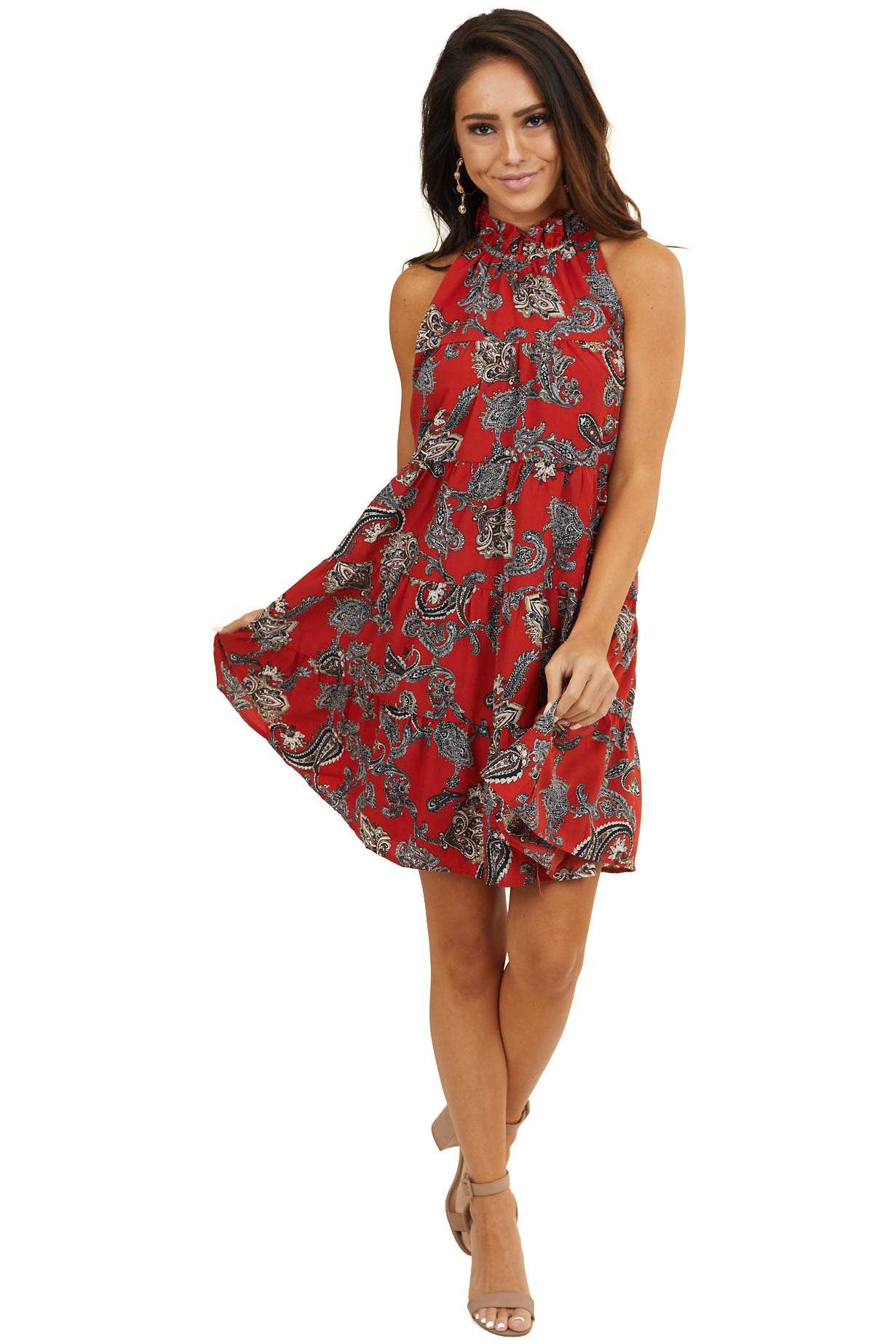 Cranberry Red Paisley Print Halter Top Tiered Short Dress