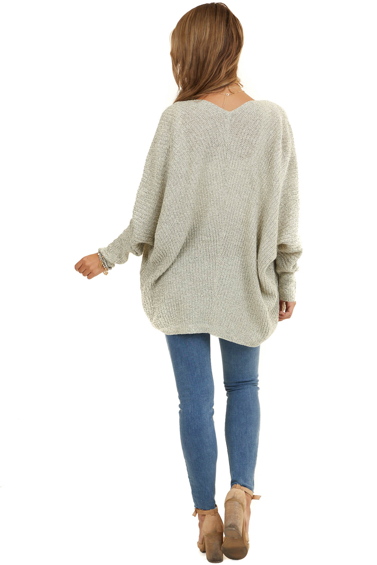 Oatmeal Open Front Cardigan with 3/4 Dolman Sleeves