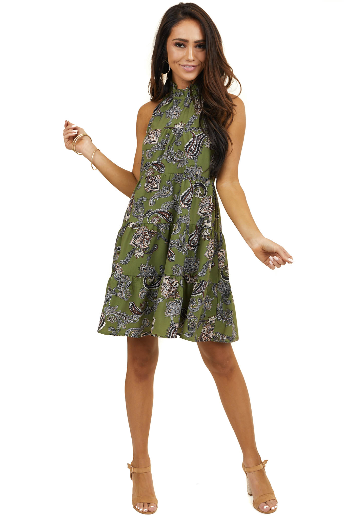 Olive Green Paisley Print Halter Top Tiered Short Dress