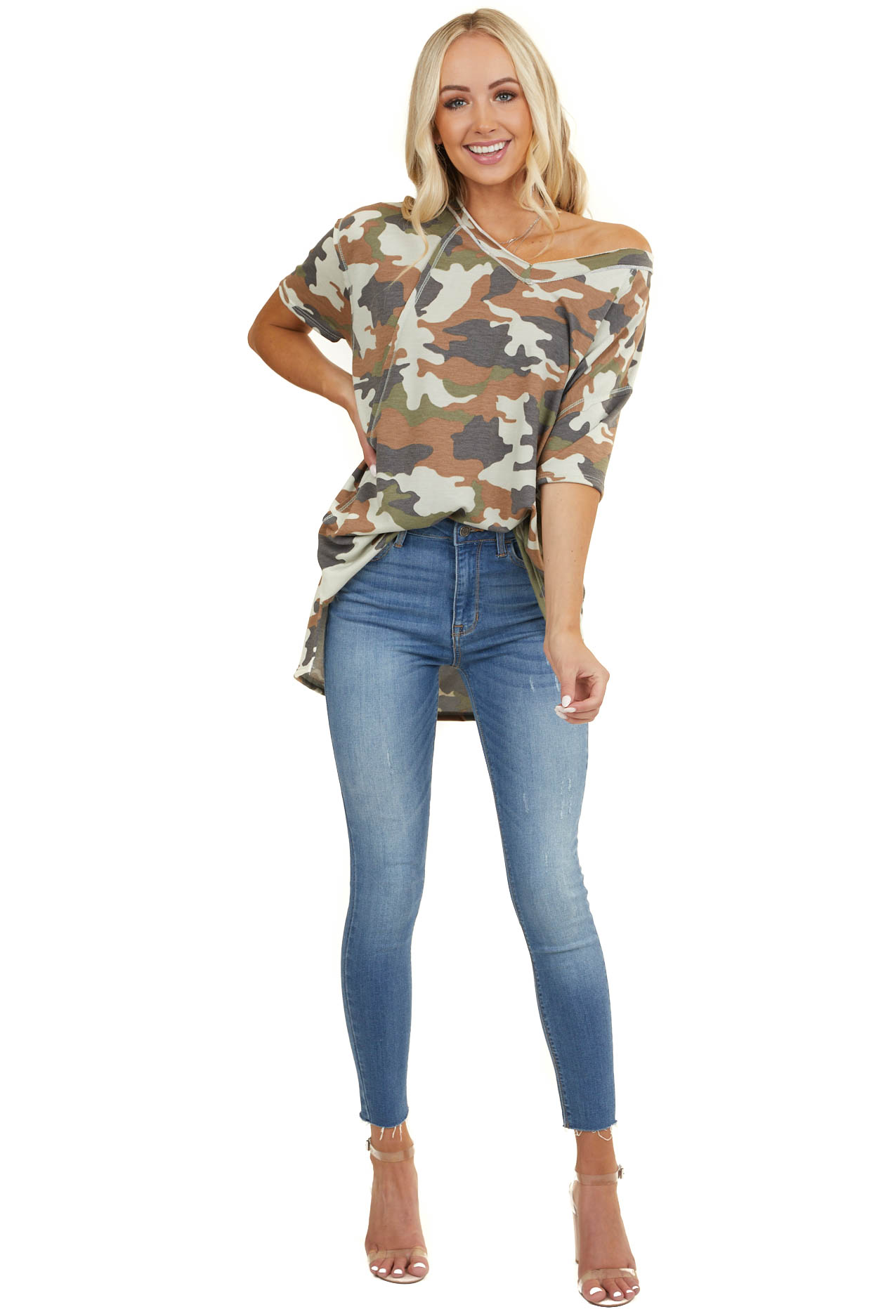 Olive and Cognac Camo Print V Neck Top with Short Sleeves