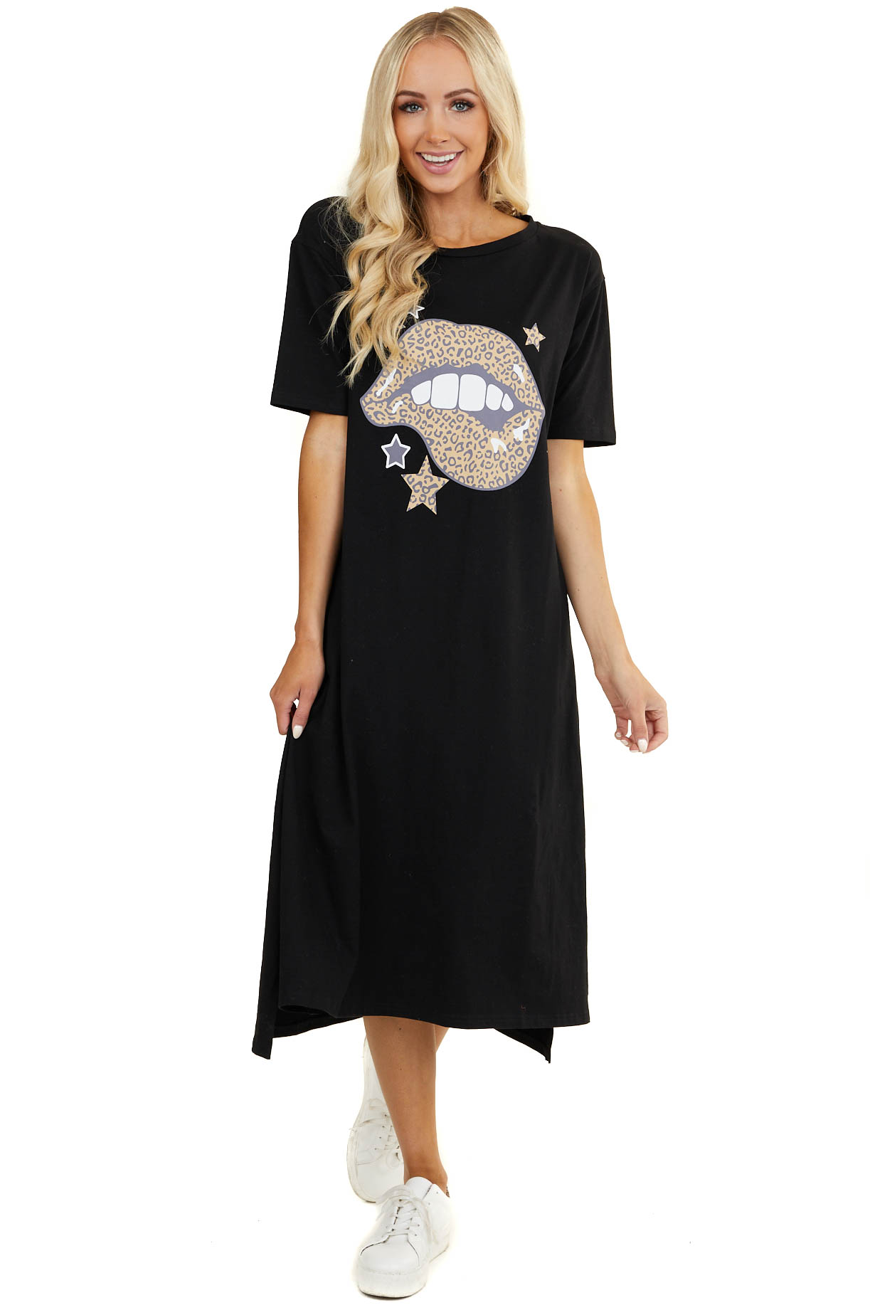 Black Soft Knit Midi Dress with Leopard Print Lip Graphic