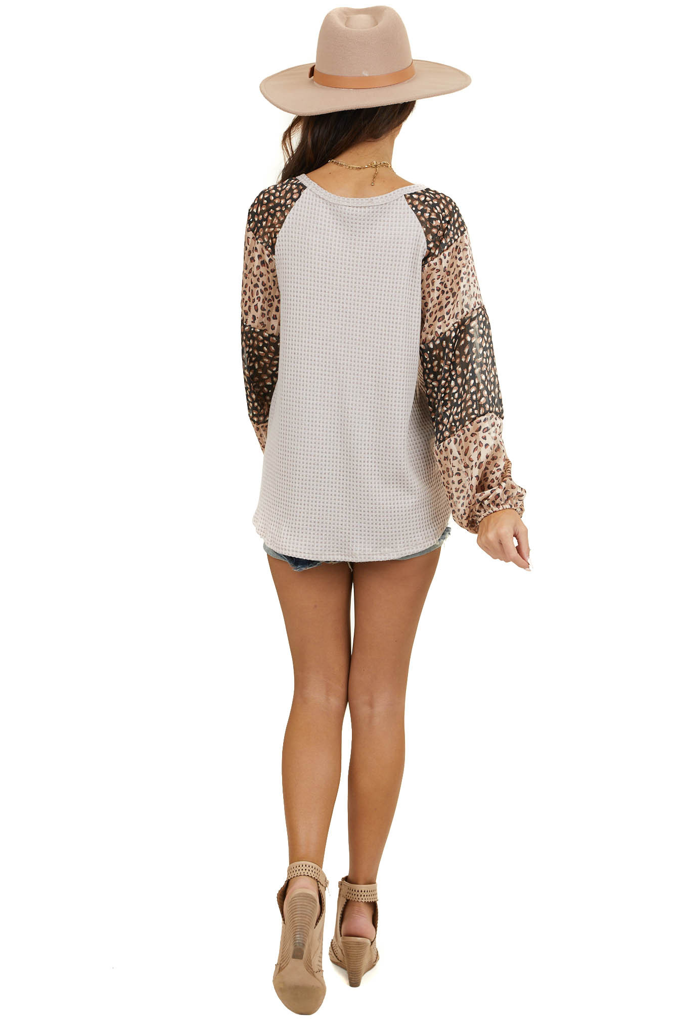 Dusty Latte Top with Long Multicolor Leopard Print Sleeves
