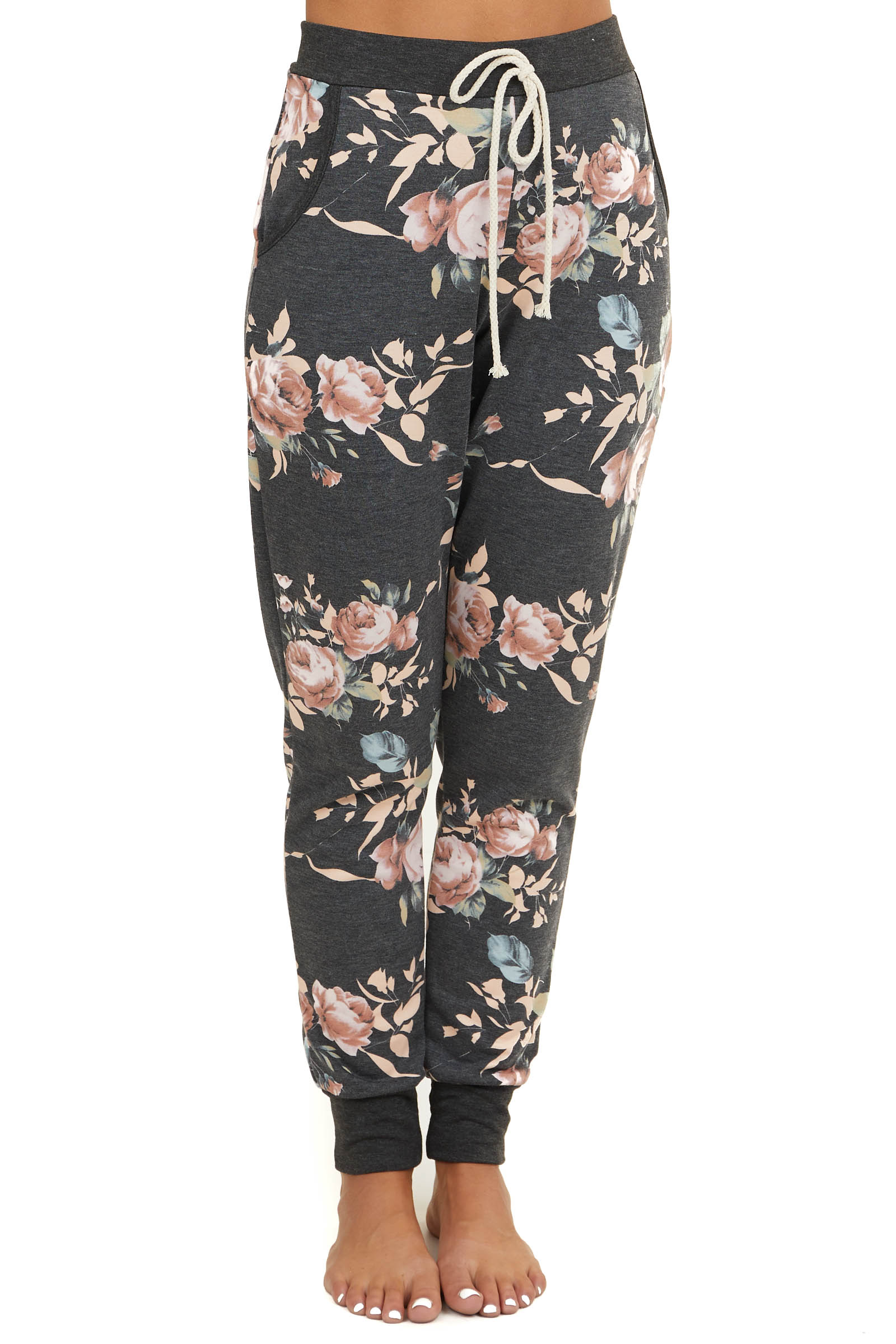 Charcoal Floral Print Jogger Sweatpants with Pocket Details