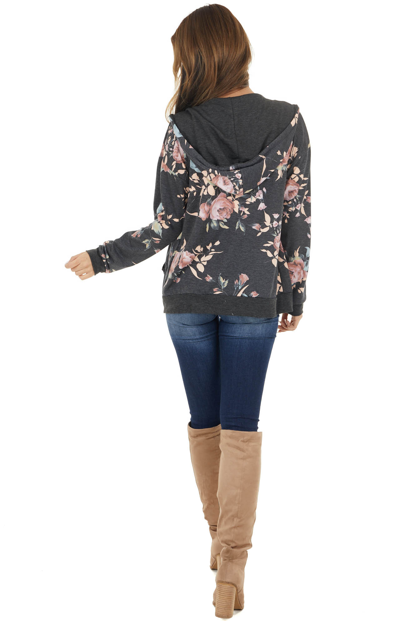 Charcoal Floral Print Jacket with Hood and Zipper Detail