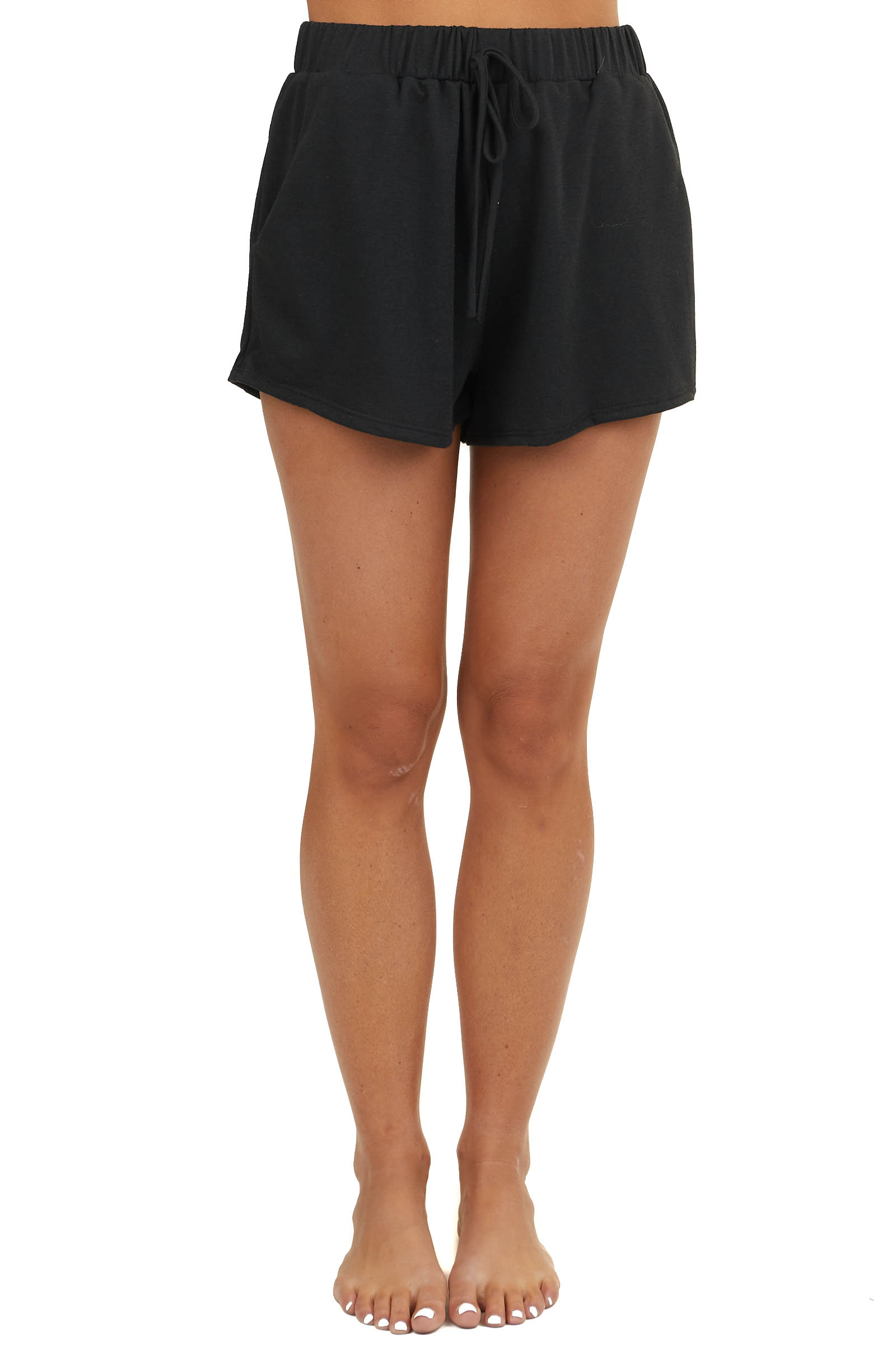 Black Super Soft Loungewear Drawstring Shorts with Pockets