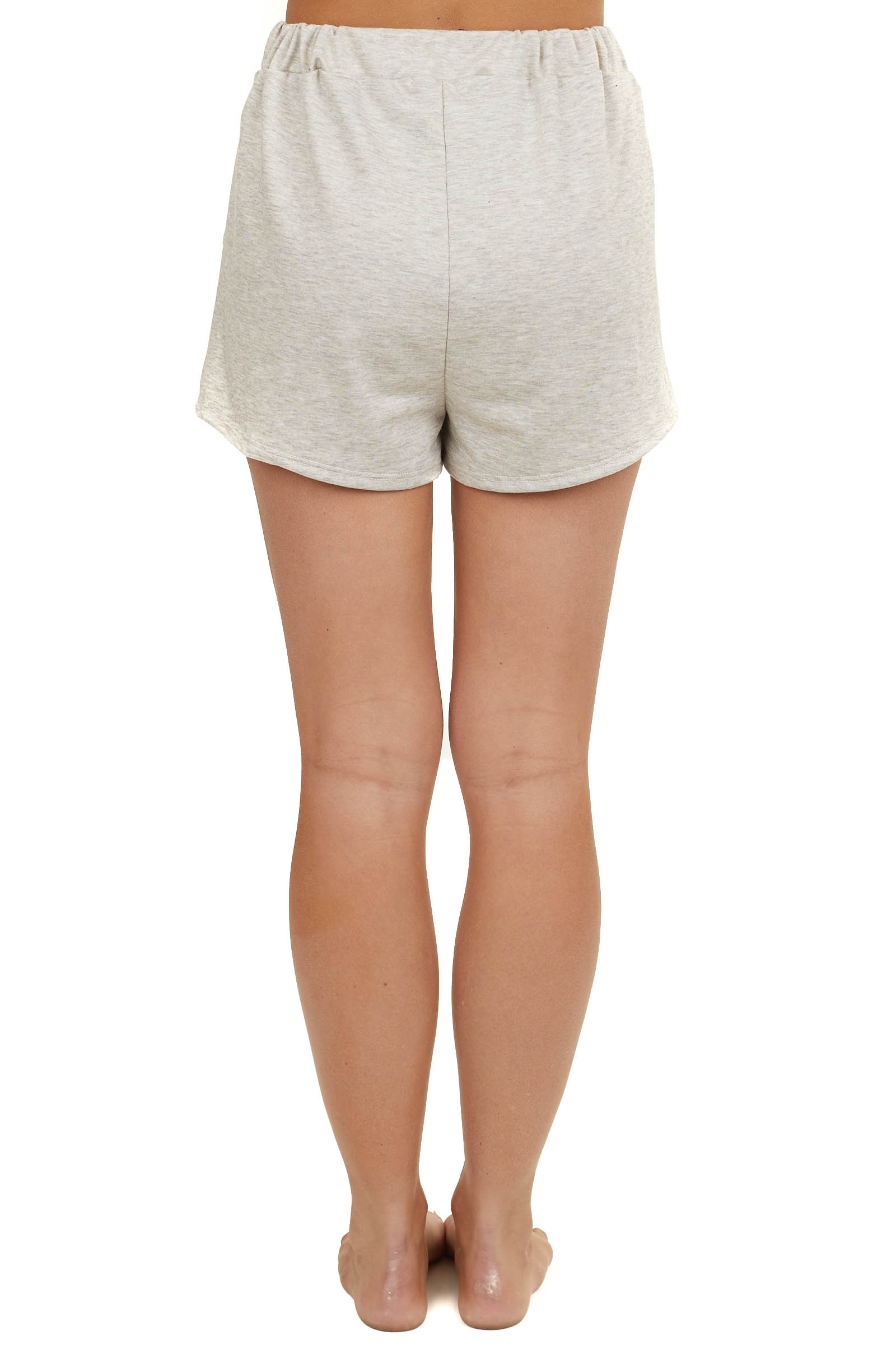 Heathered Beige Loungewear Drawstring Shorts with Pockets