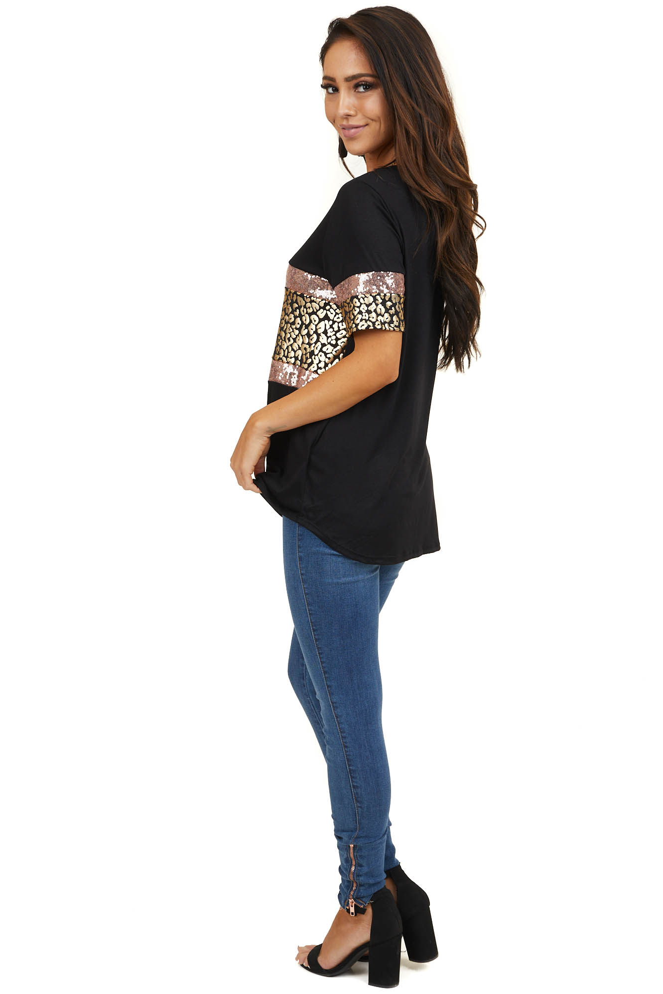 Black Top with Gold Leopard Print and Blush Sequin Stripes