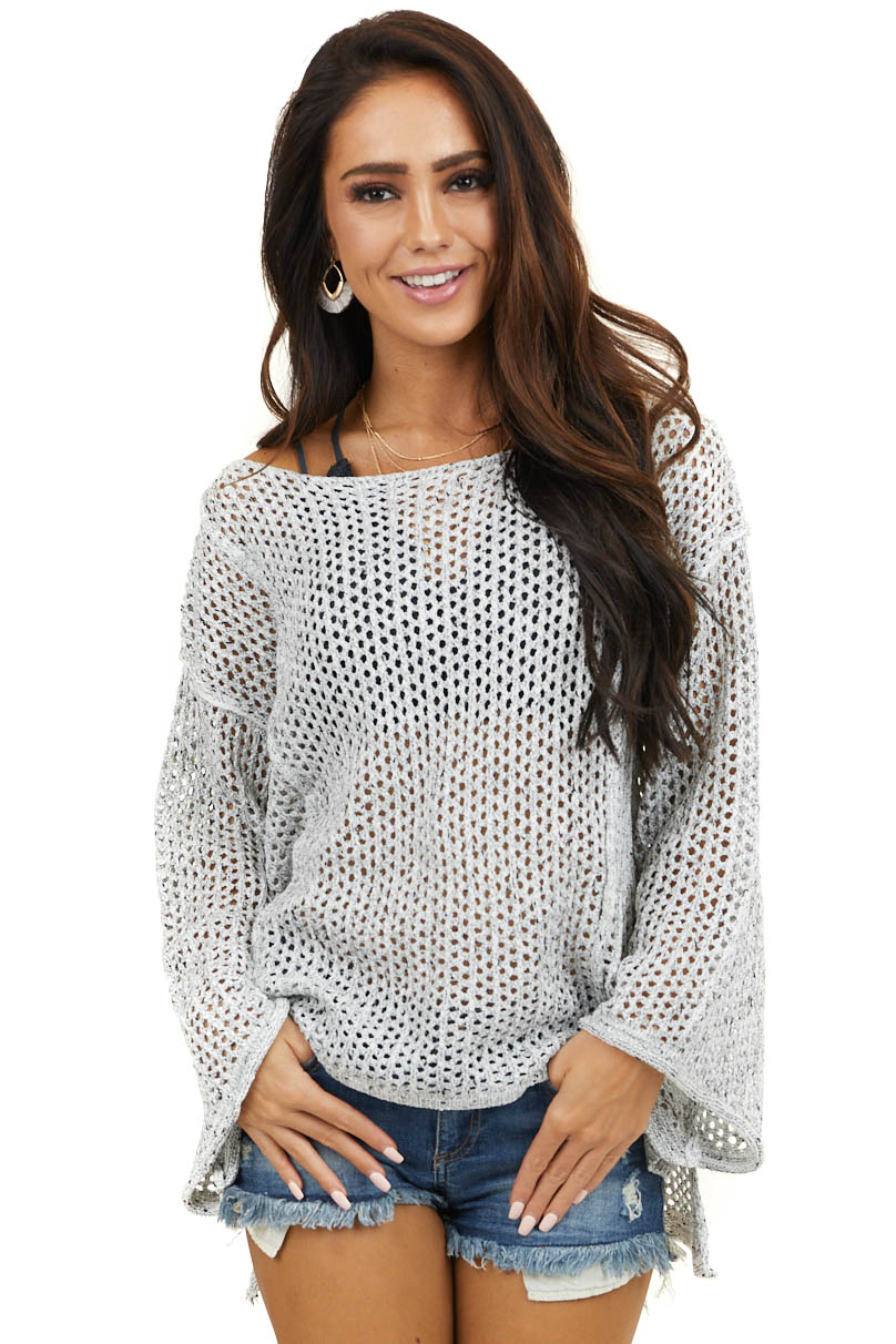 Grey Crochet Knit Lightweight Sweater with Long Sleeves