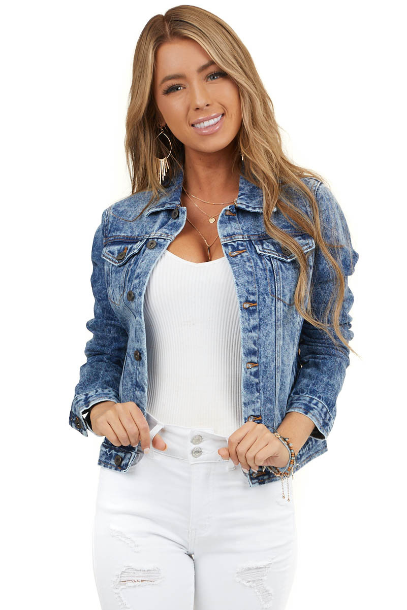 Dark Acid Wash Denim Button Up Jacket with Long Sleeves