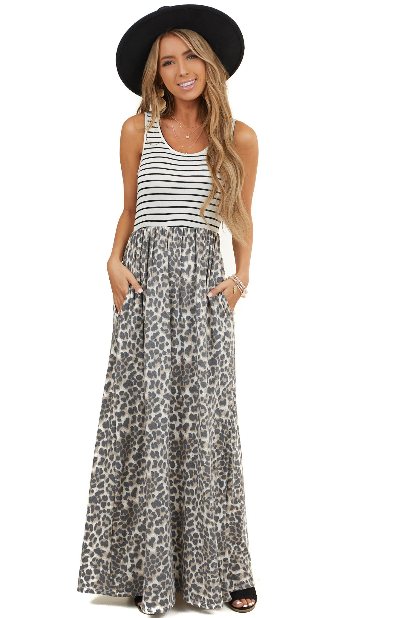 Ivory and Taupe Leopard Print Sleeveless Maxi Dress