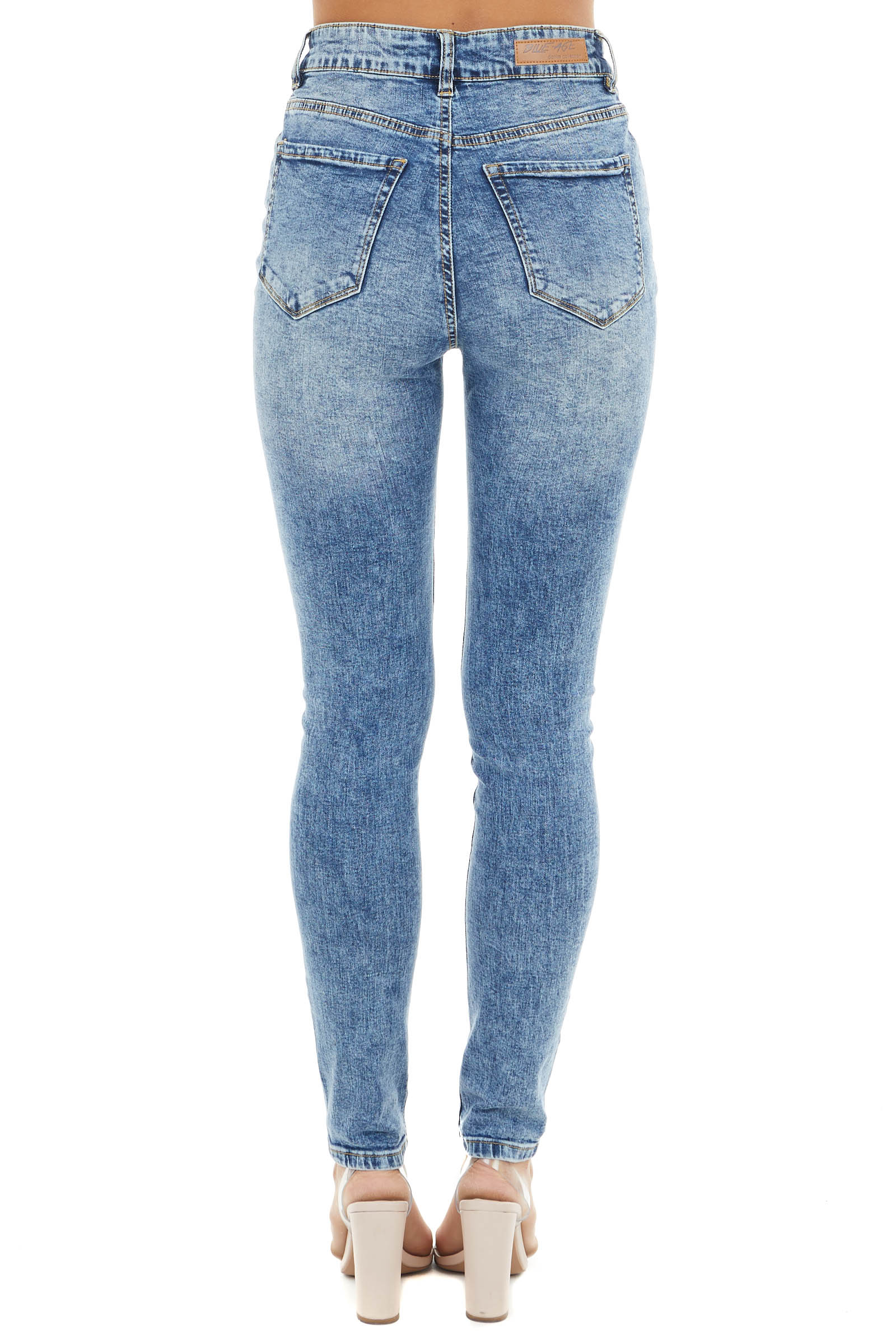 Blue Acid Wash Distressed High Rise Denim Skinny Jeans