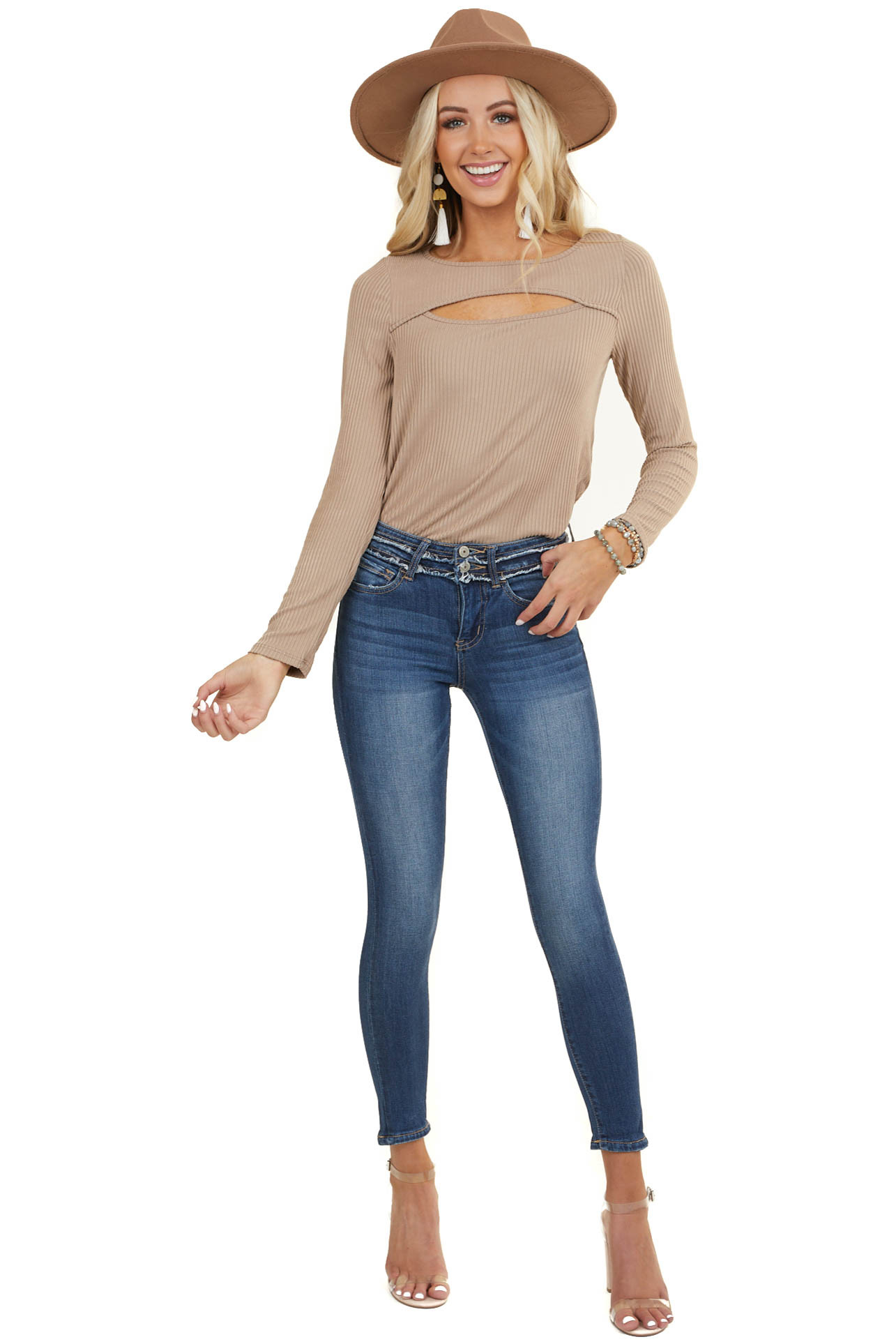 Taupe Soft Ribbed Long Sleeve Top with Neckline Cutout