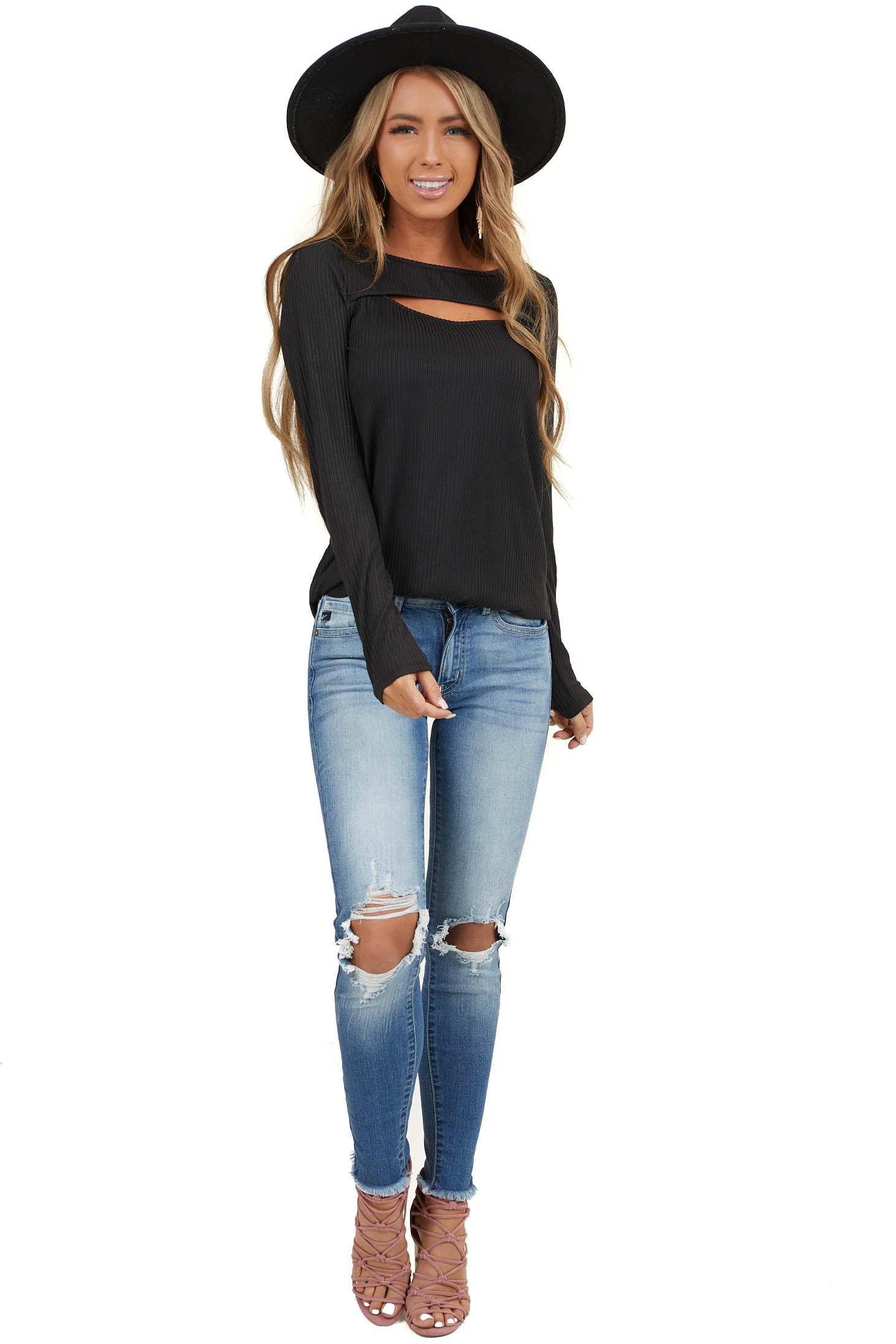 Charcoal Soft Ribbed Long Sleeve Top with Neckline Cutout