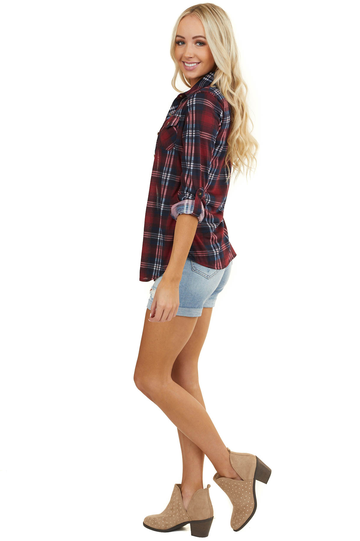 Burgundy and Navy Plaid Button Up Top with Chest Pockets