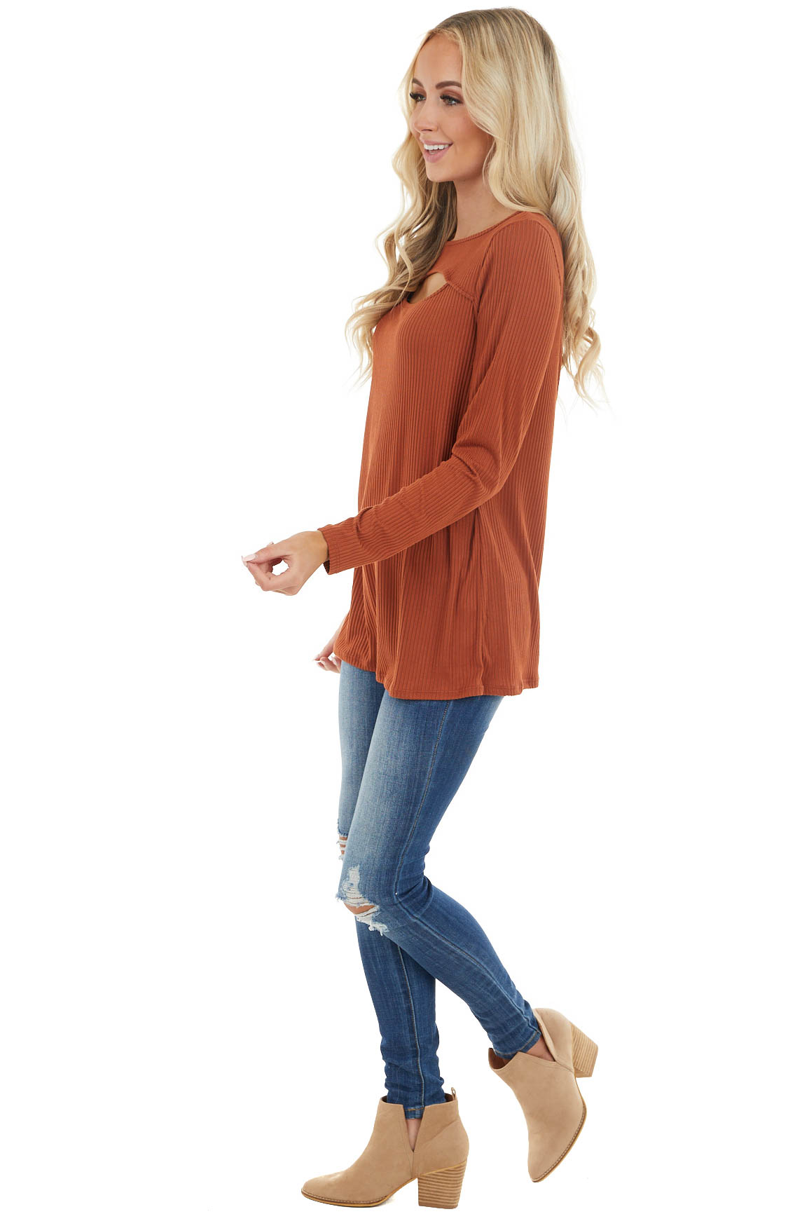 Terracotta Soft Ribbed Long Sleeve Top with Neckline Cutout
