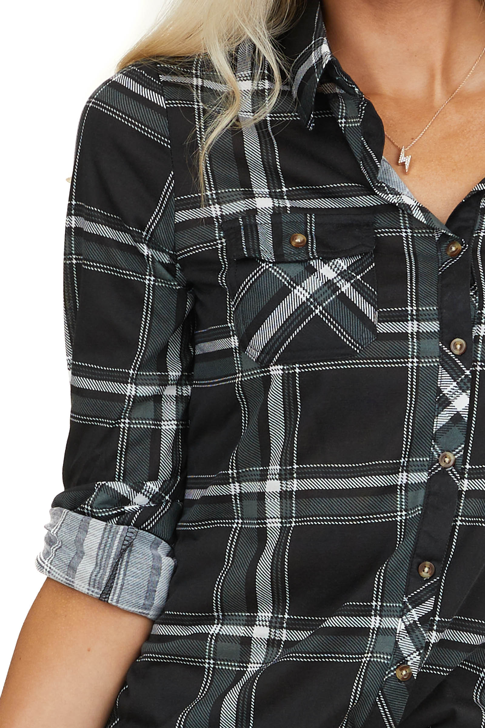 Black and Charcoal Plaid Button Up Top with Chest Pockets