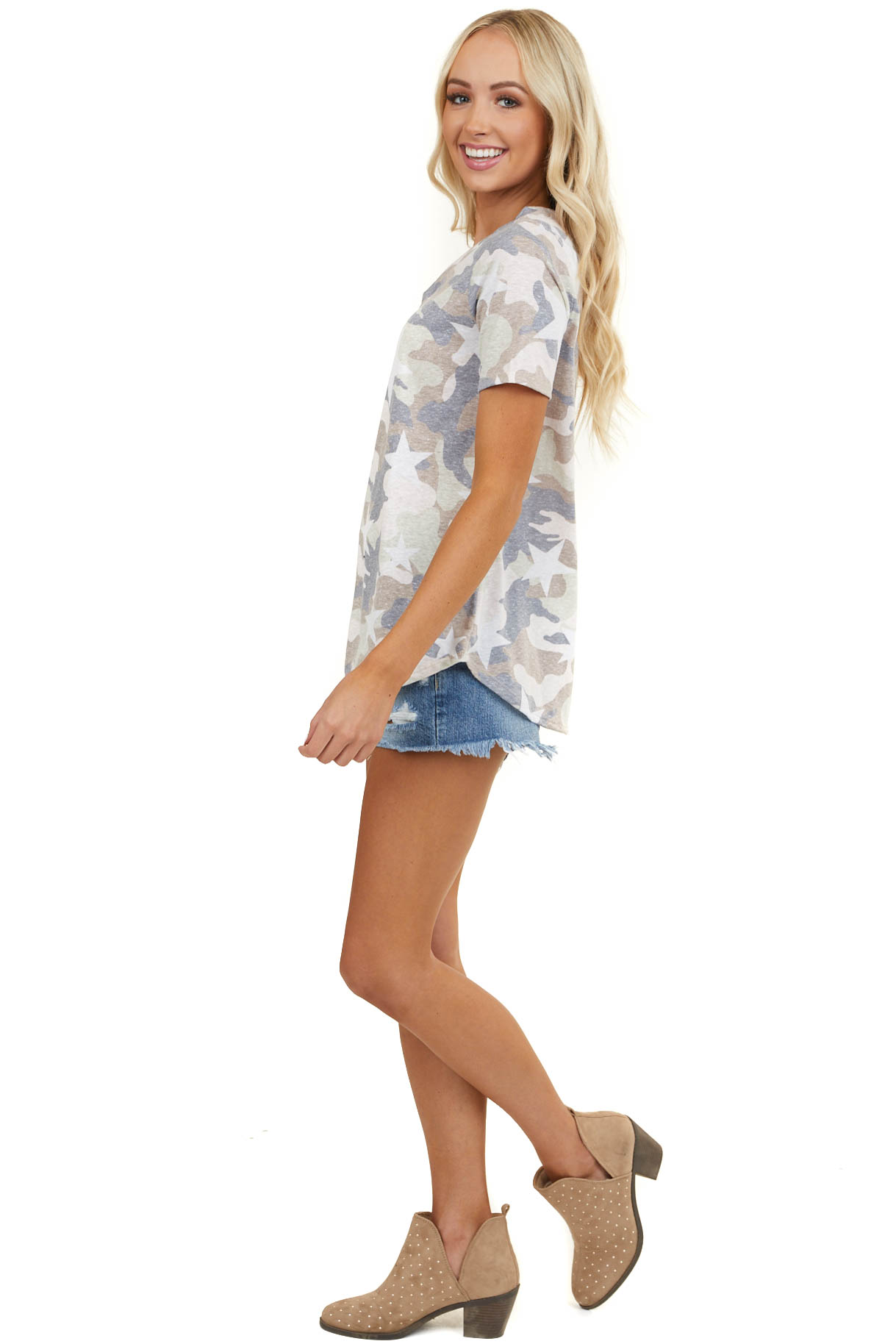 Ivory Camo Print Short Sleeve Top with Ladder Neck Detail
