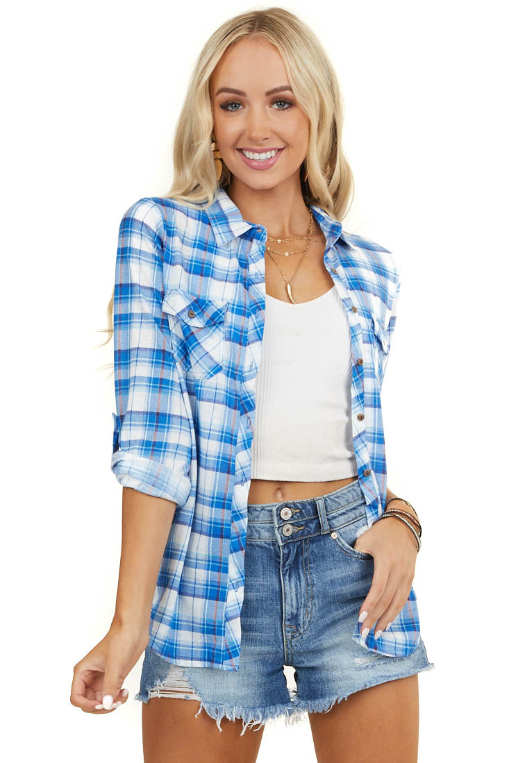 Royal Blue and White Plaid Button Up Top with Chest Pockets