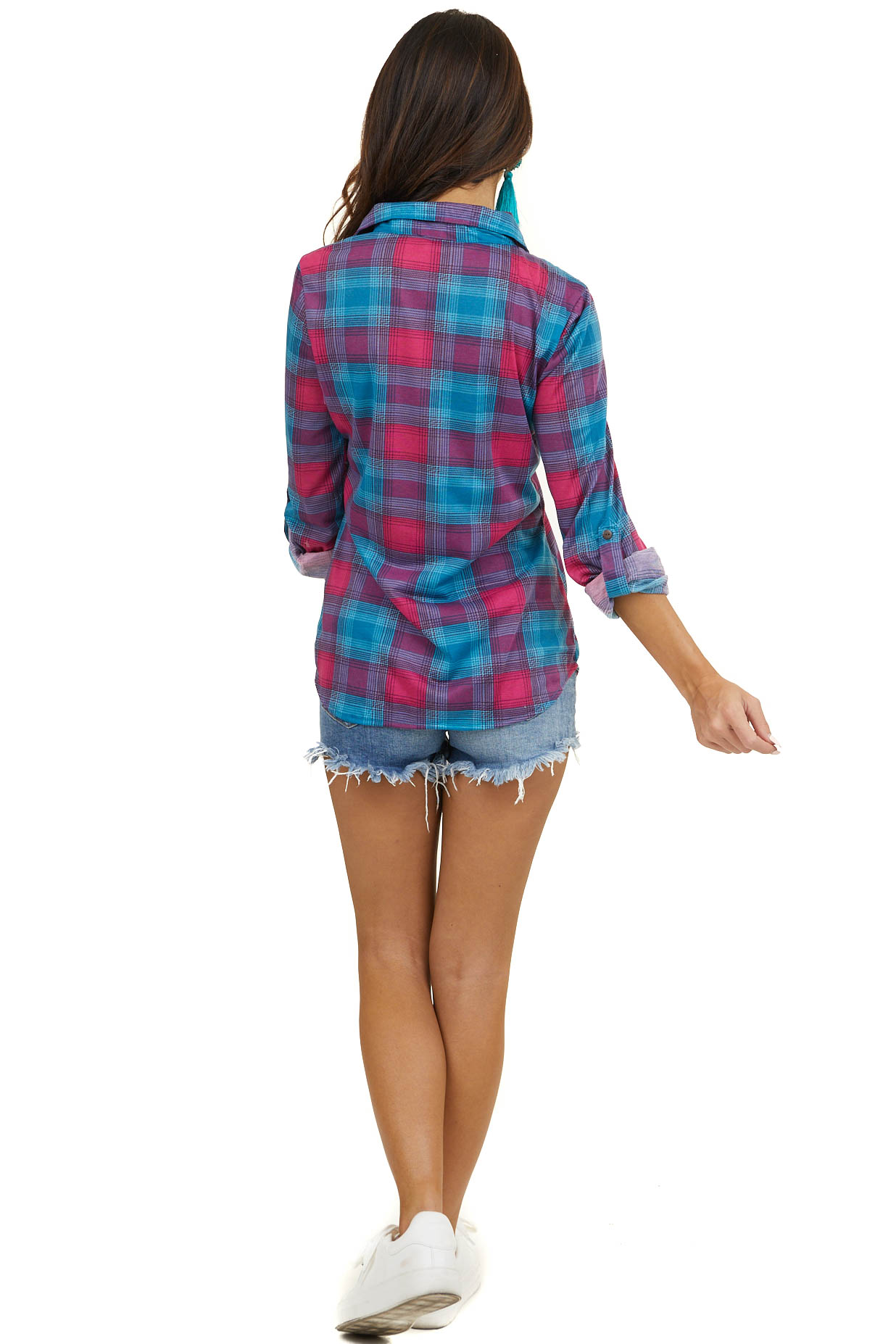 Teal and Fuchsia Plaid Button Up Top with Chest Pockets
