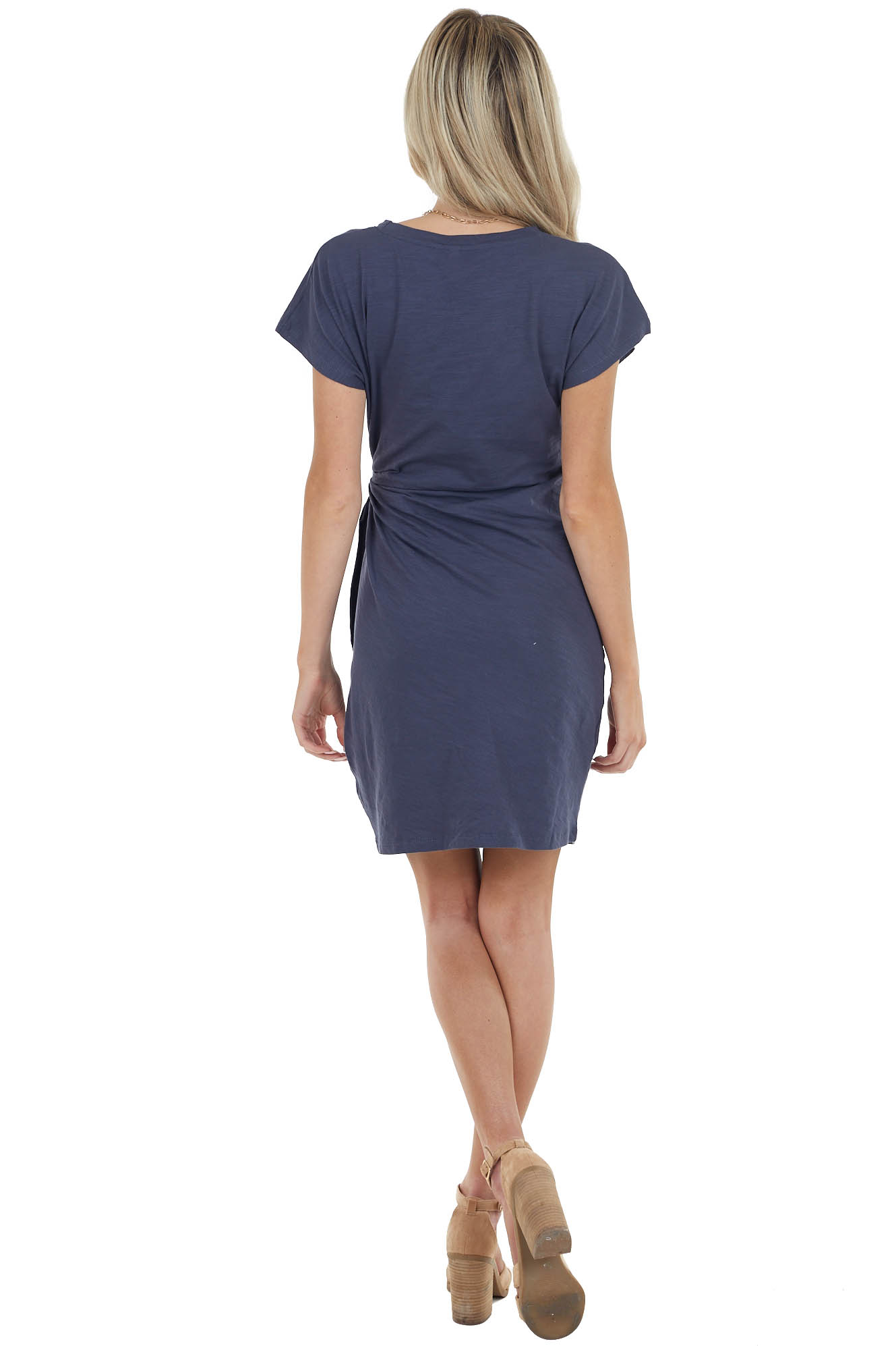 Dusty Navy Short Sleeve Knit Dress With Side Tie Detail