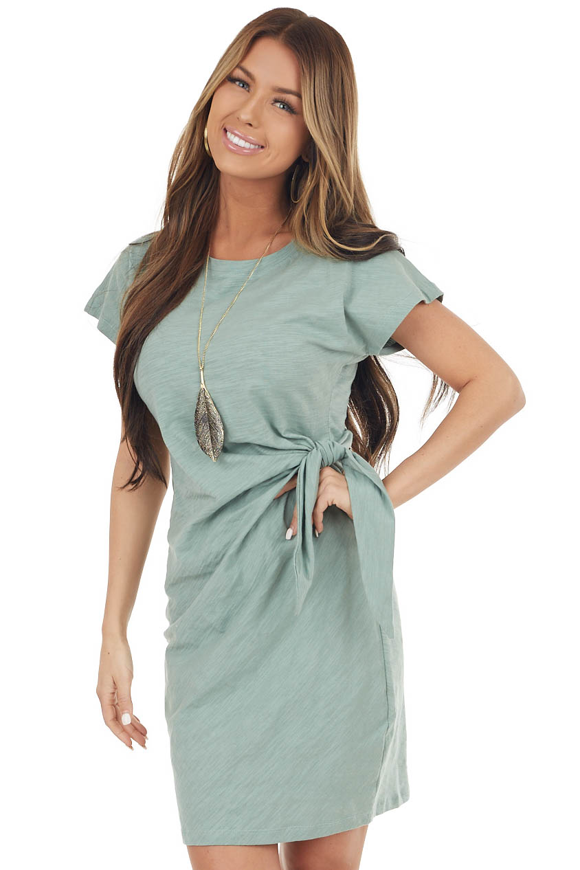 Sage Short Sleeve Knit Dress With Side Tie Detail