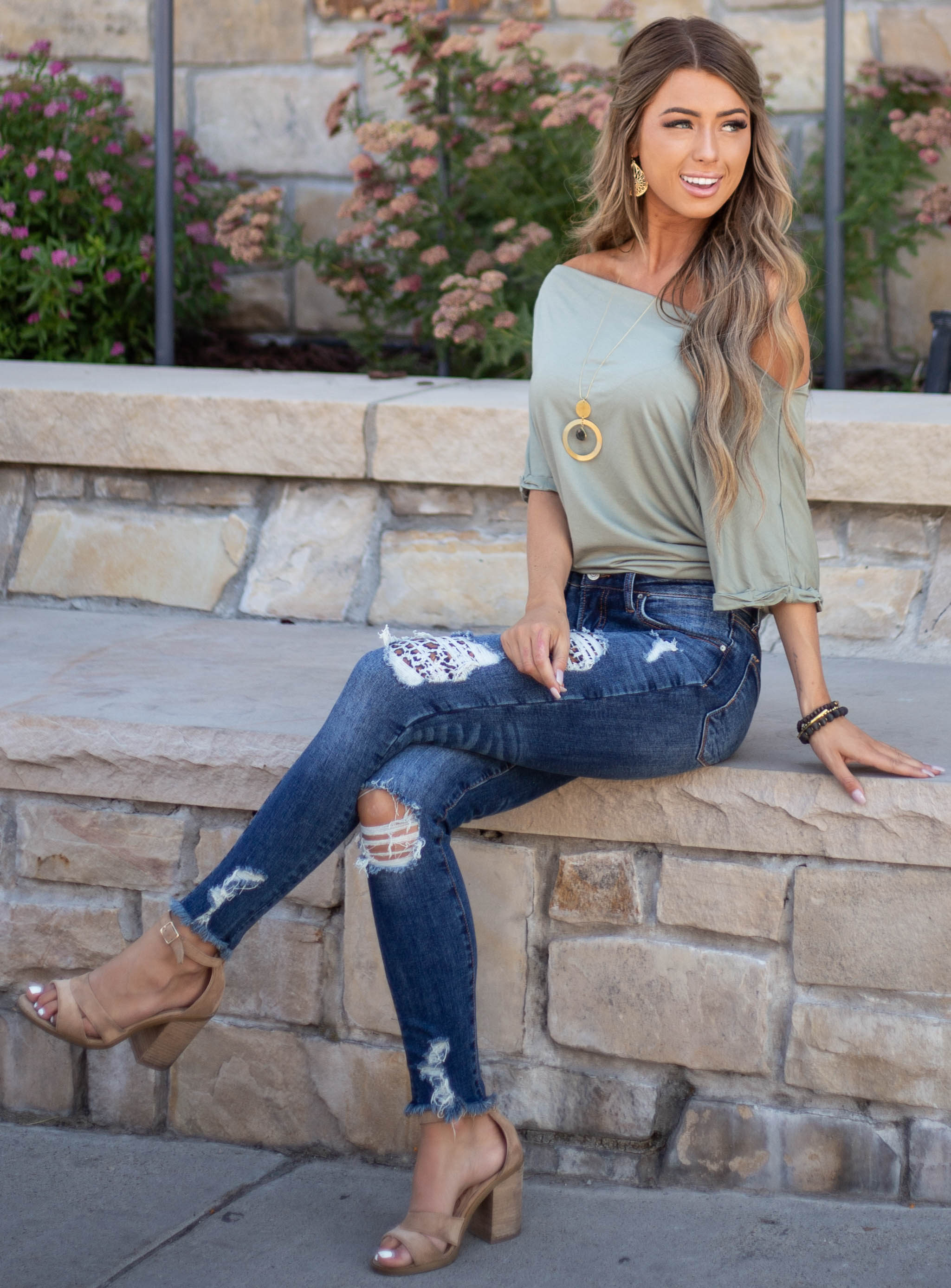 Sage Off Shoulder Knit Top with Cuffed Short Sleeves
